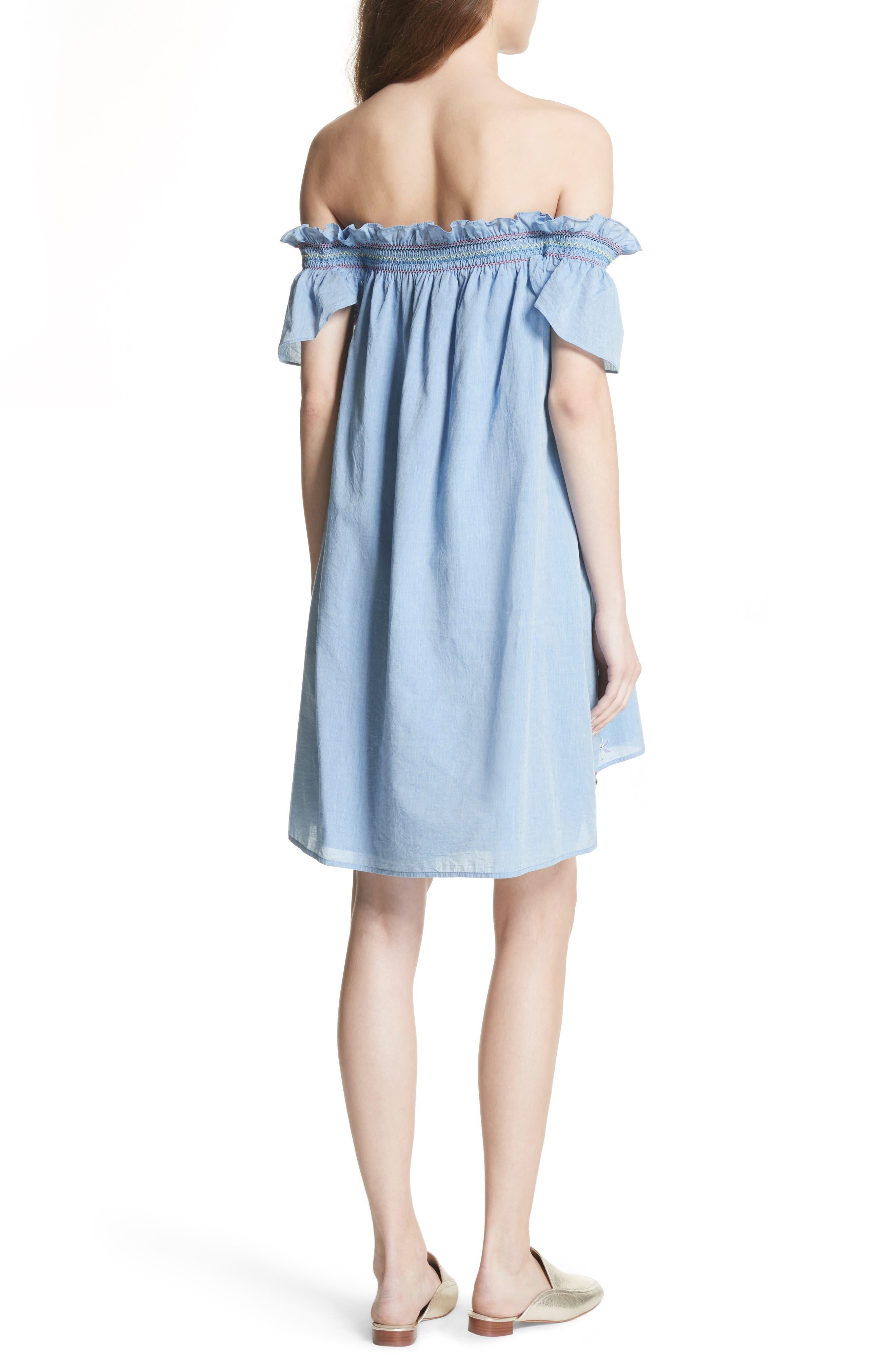 Clarimonde Embroidered Off the Shoulder Cotton Dress,                             Alternate thumbnail 2, color,                             400