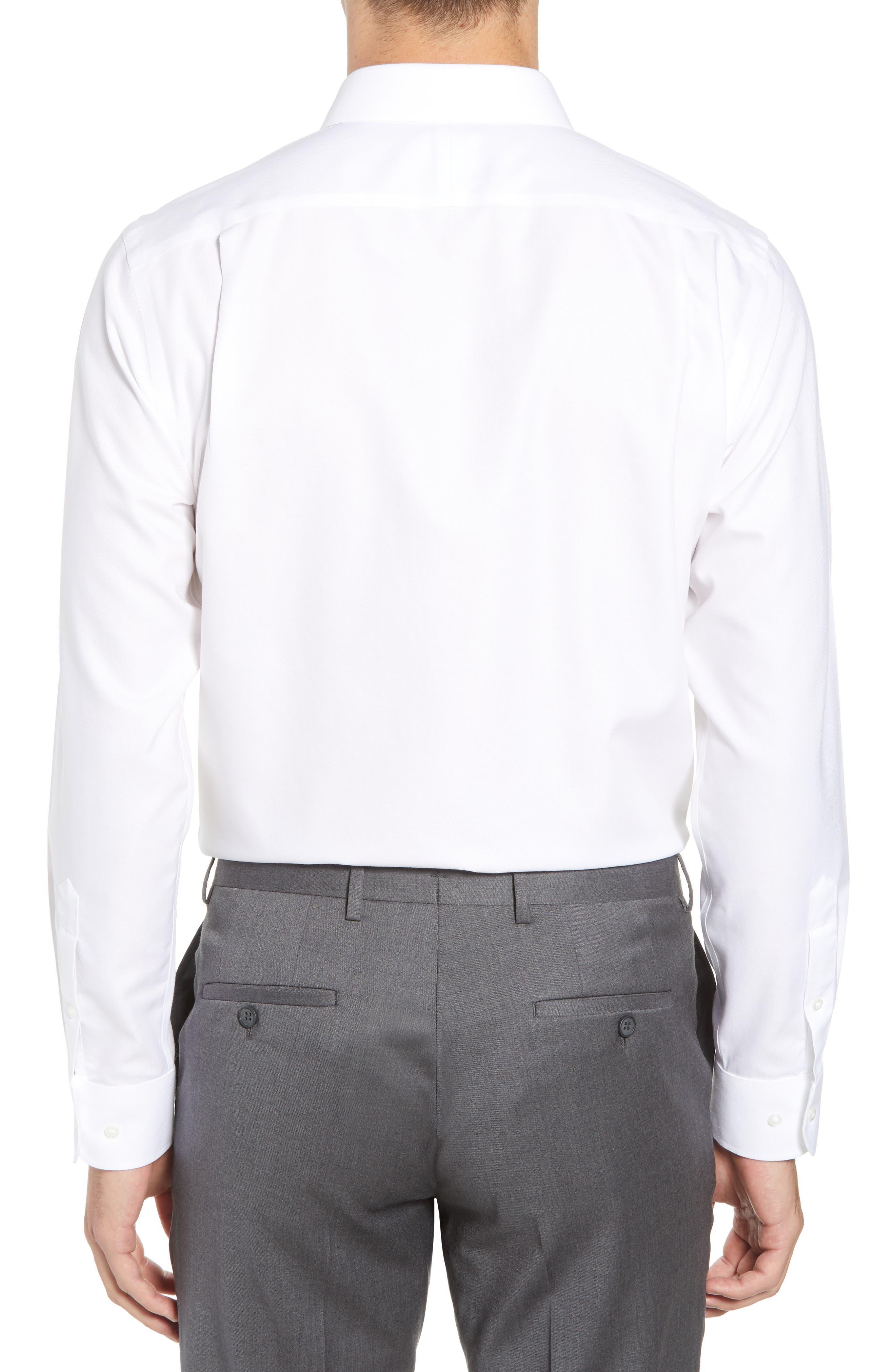 Smartcare<sup>™</sup> Trim Fit Solid Dress Shirt,                             Alternate thumbnail 3, color,                             100
