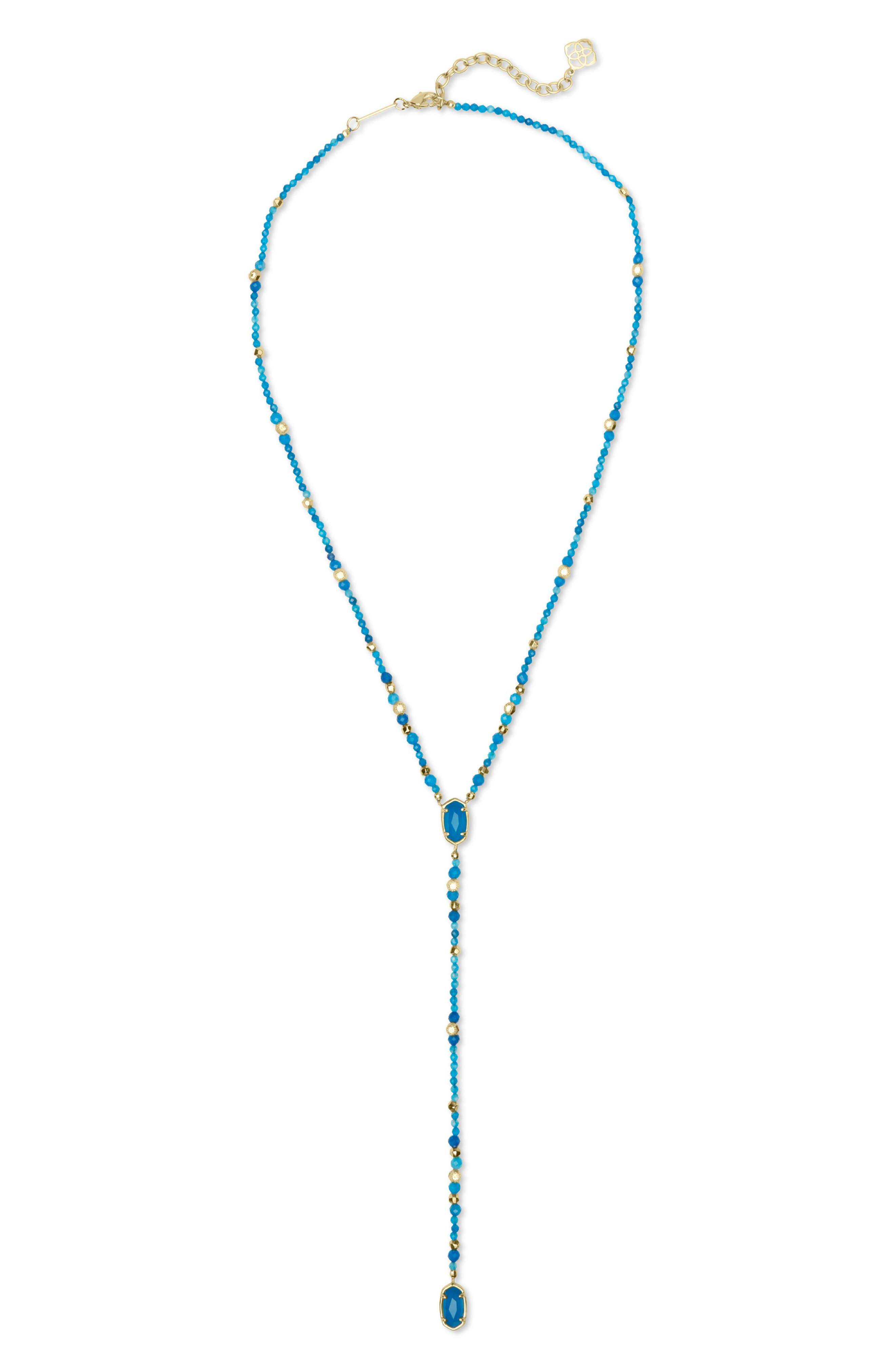 Bethany Y-Shaped Necklace,                             Alternate thumbnail 4, color,                             TEAL UNBANDED AGATE/ GOLD