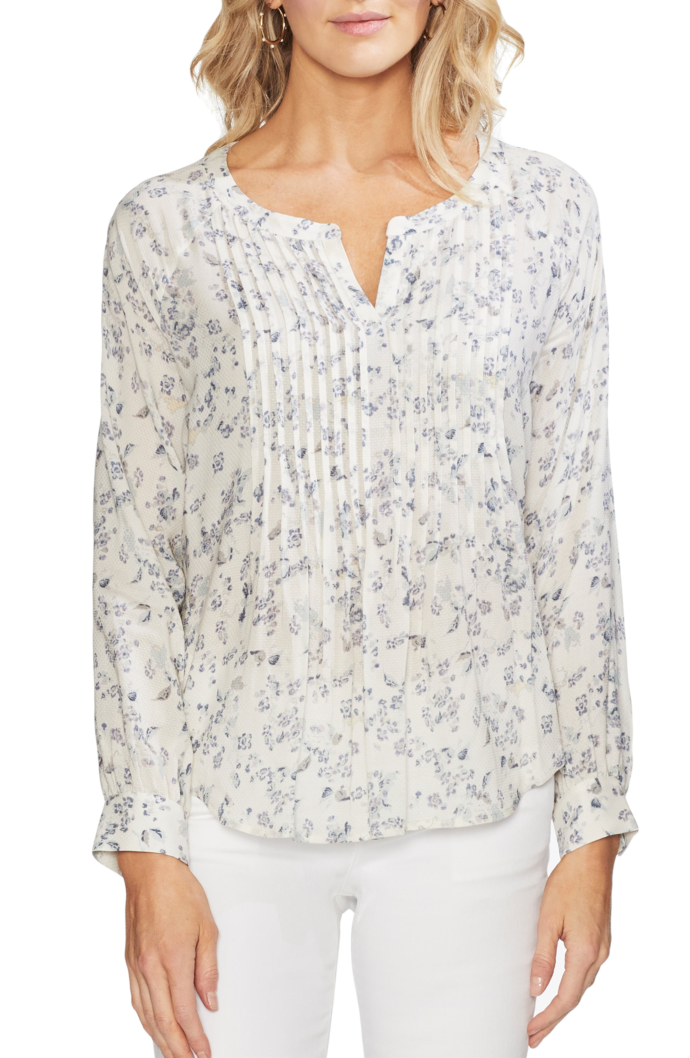 Vince Camuto Tops TRANQUIL DITSY PLEAT FRONT TOP