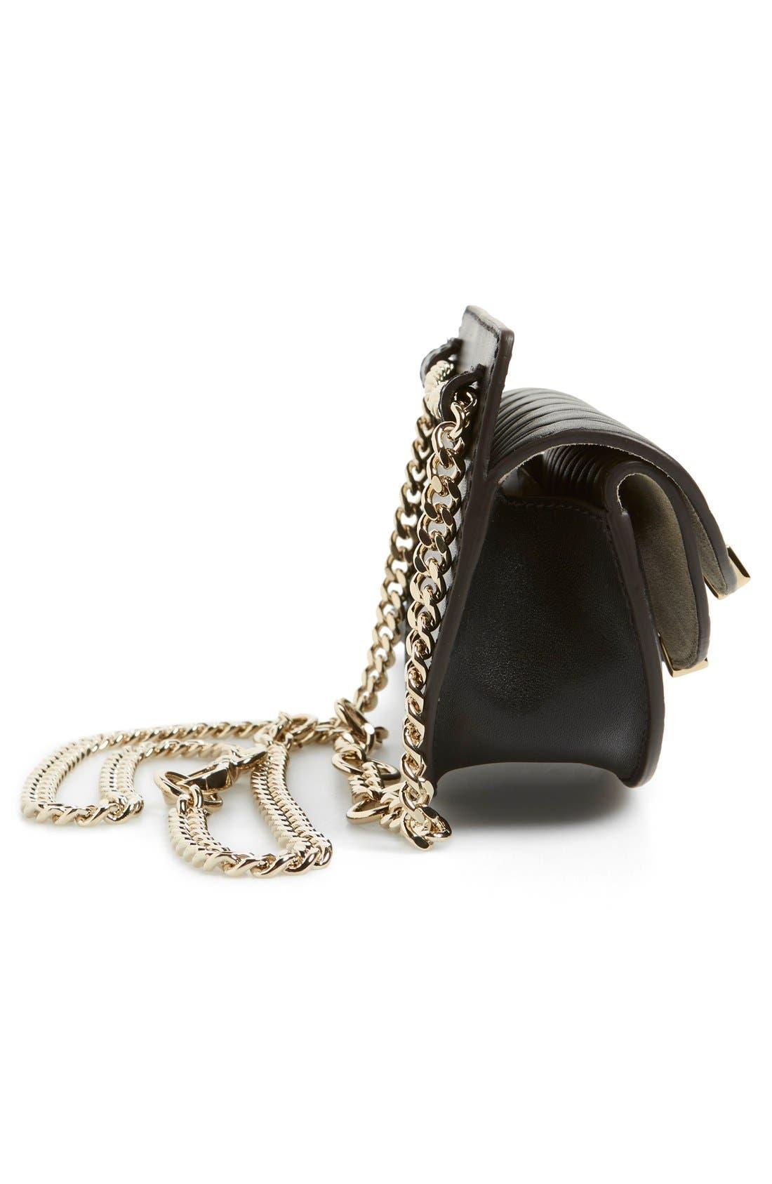 'Nano Georgia' Embossed Calfskin Leather Fanny Pack,                             Alternate thumbnail 4, color,                             001
