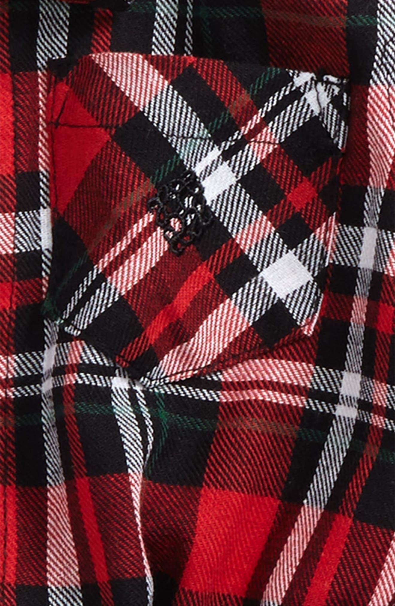 Shirtzie Holiday Plaid Bodysuit, Corduroy Pants & Bow Tie Set,                             Alternate thumbnail 2, color,                             622