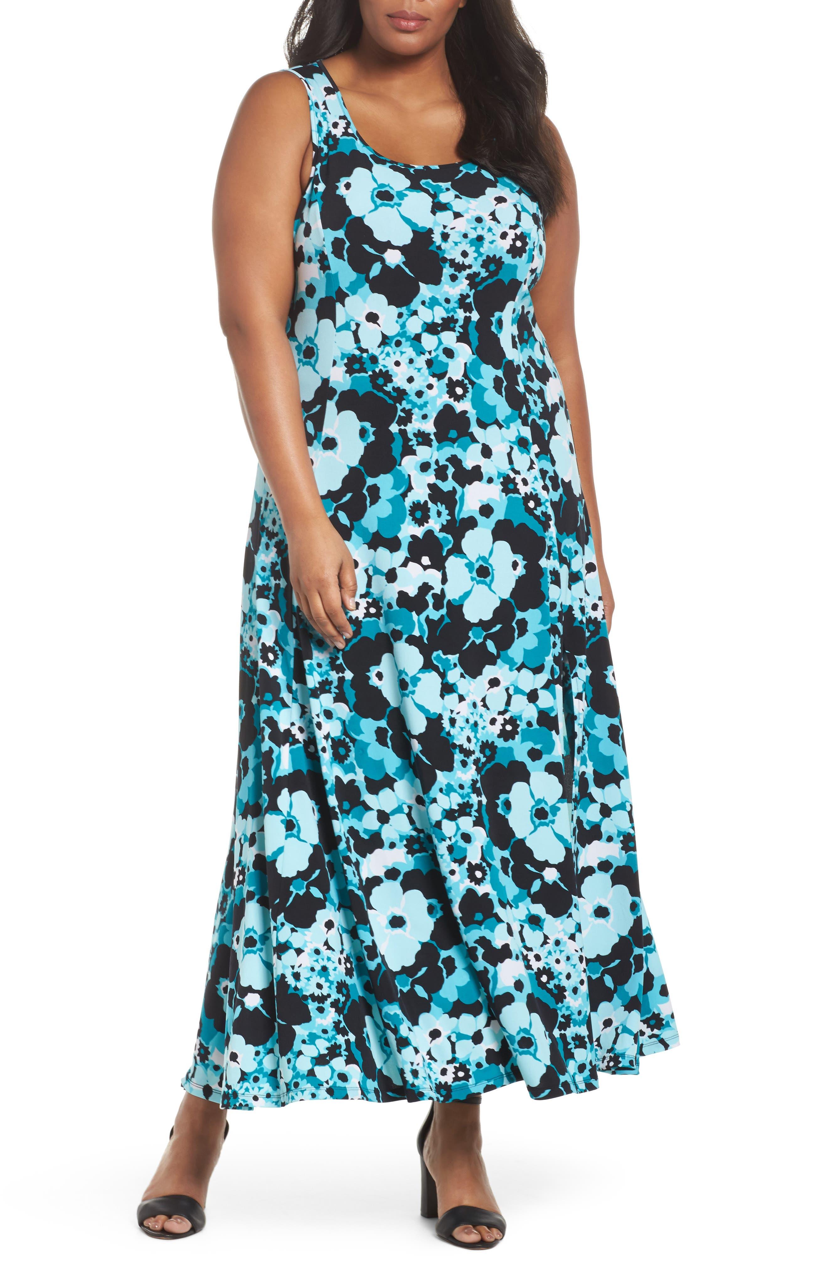 Spring Floral Maxi Tank Dress,                             Main thumbnail 1, color,                             004