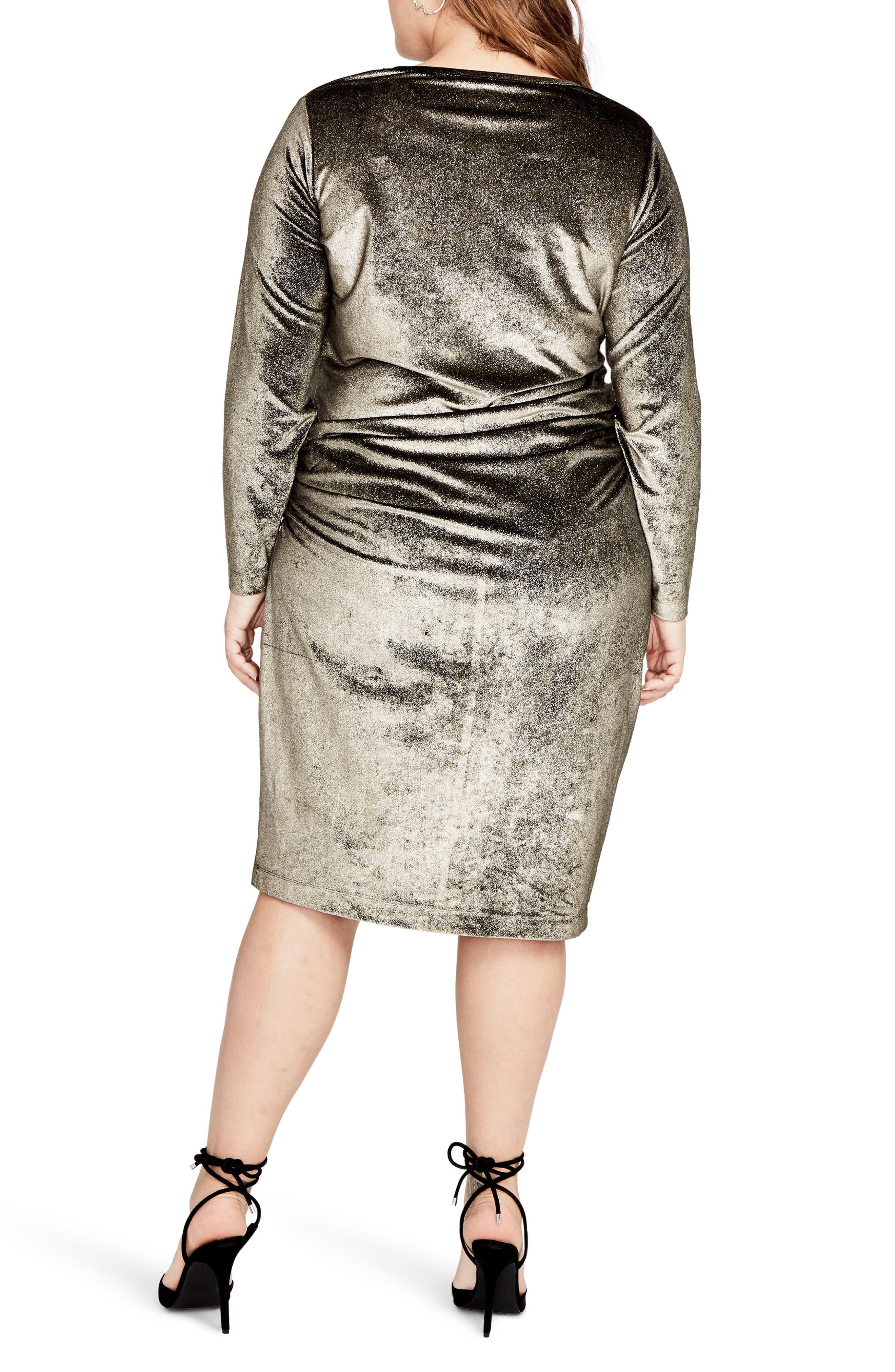 Draped Metallic Sheath Dress,                             Alternate thumbnail 2, color,                             223