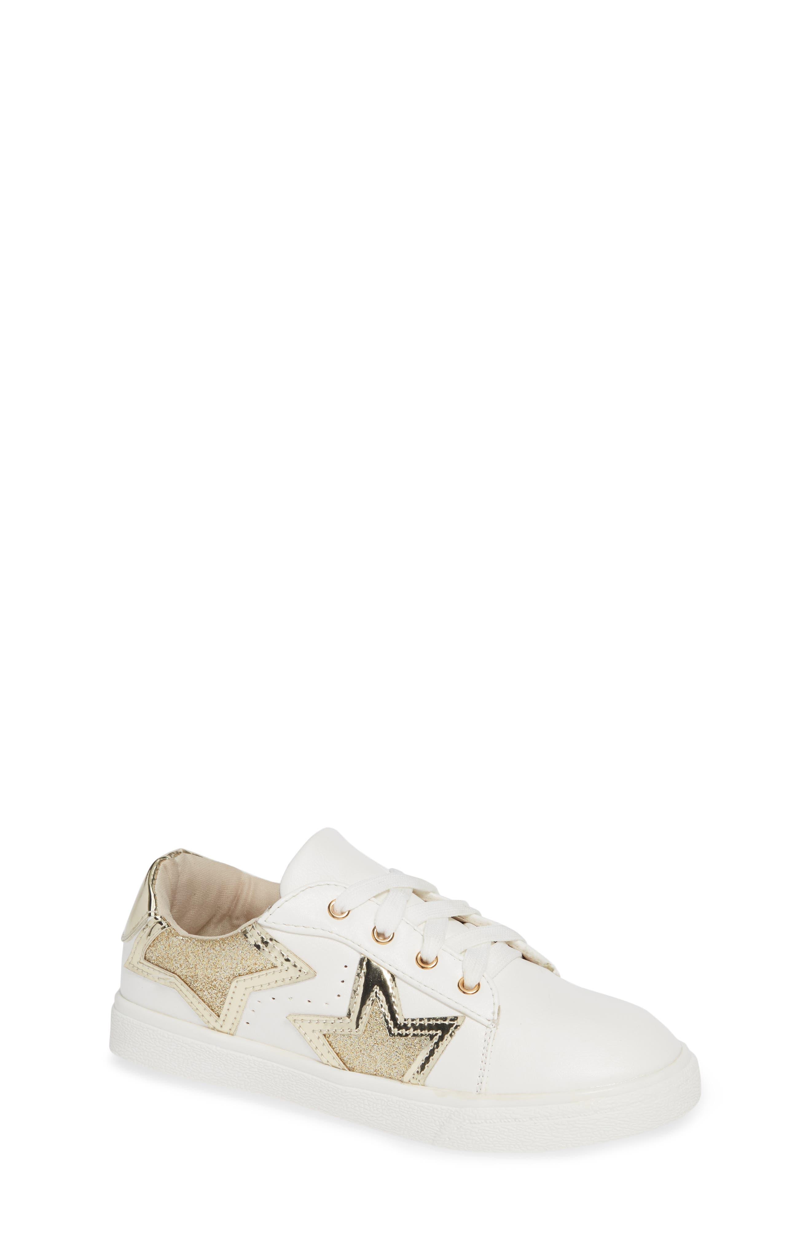 Miss Harper Appliqué Glitter Sneaker,                             Main thumbnail 1, color,                             WHITE W/ GOLD STAR