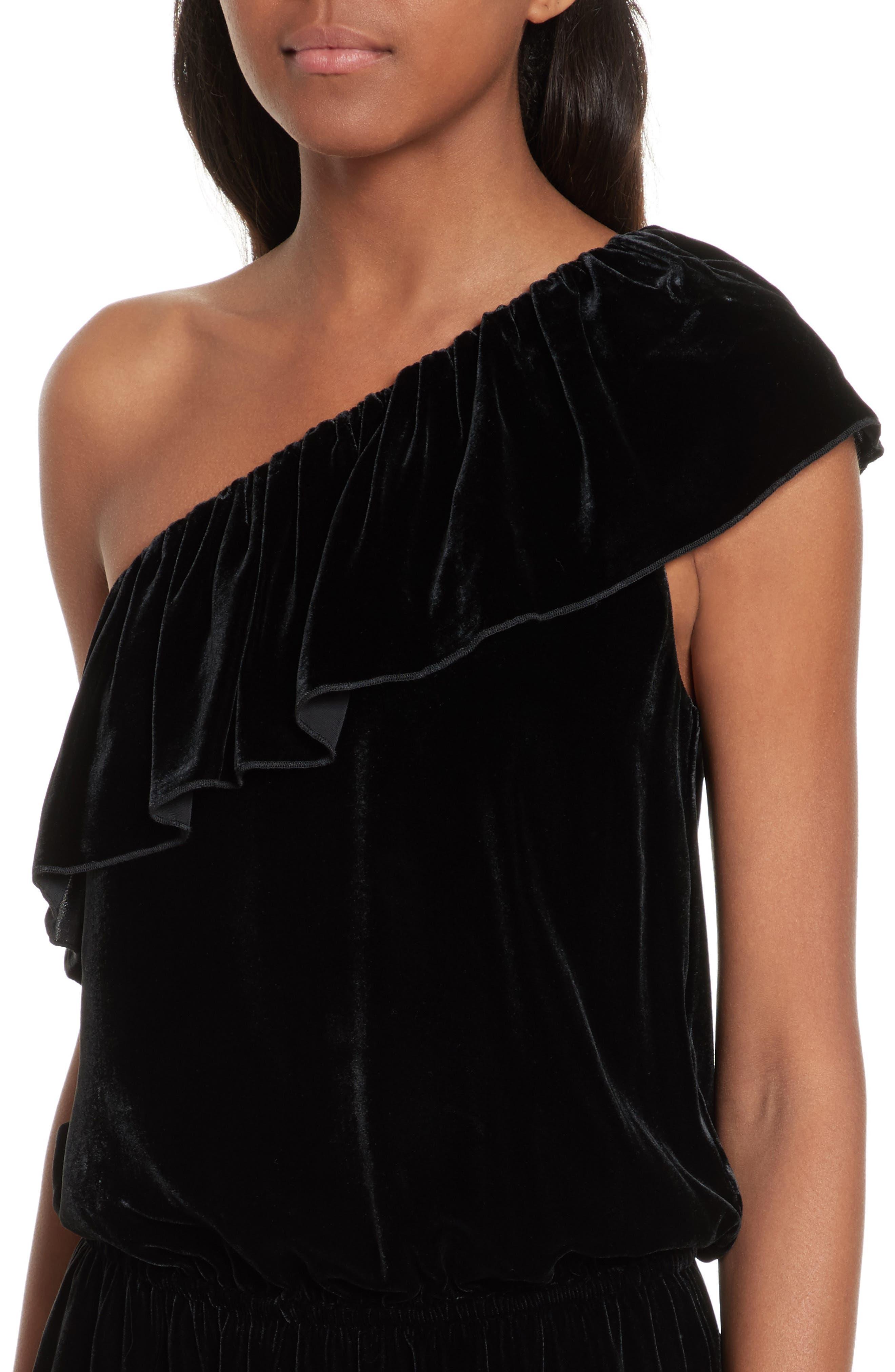 Kolda B One-Shoulder Velvet Dress,                             Alternate thumbnail 4, color,                             002