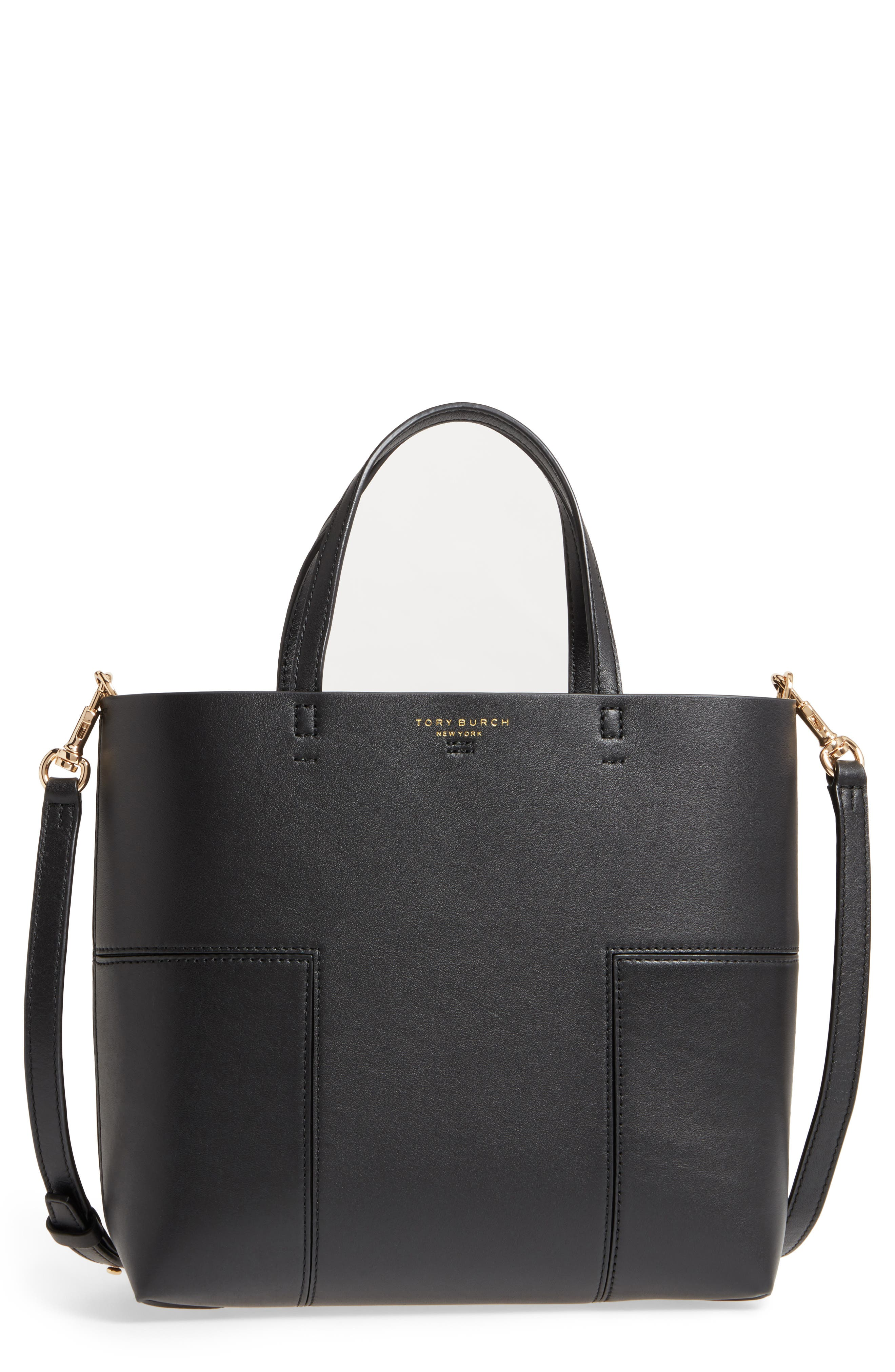 Block-T Mini Leather Tote,                             Main thumbnail 1, color,                             BLACK/BLACK