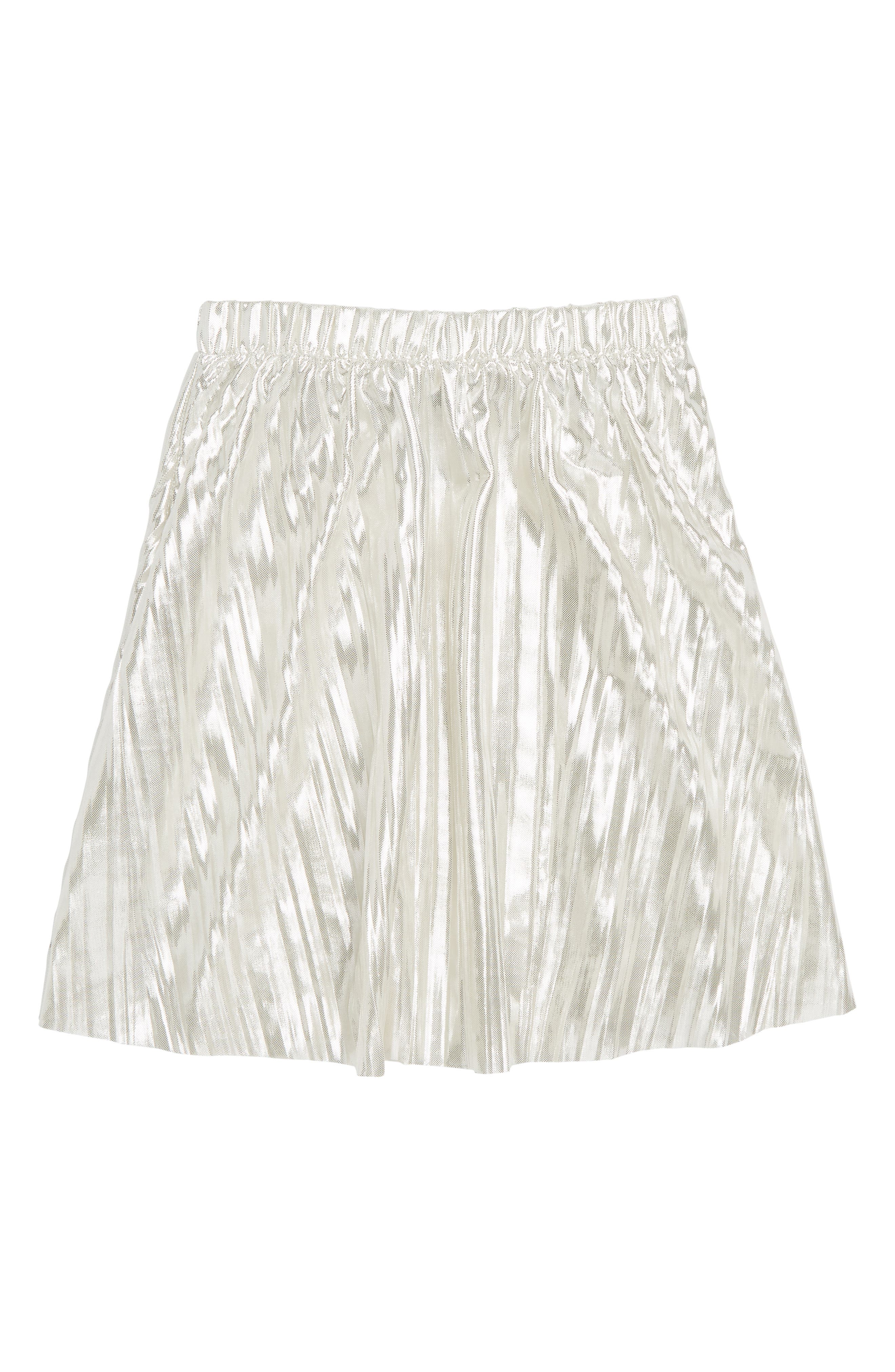 Metallic Micropleated Skirt,                             Main thumbnail 1, color,                             100