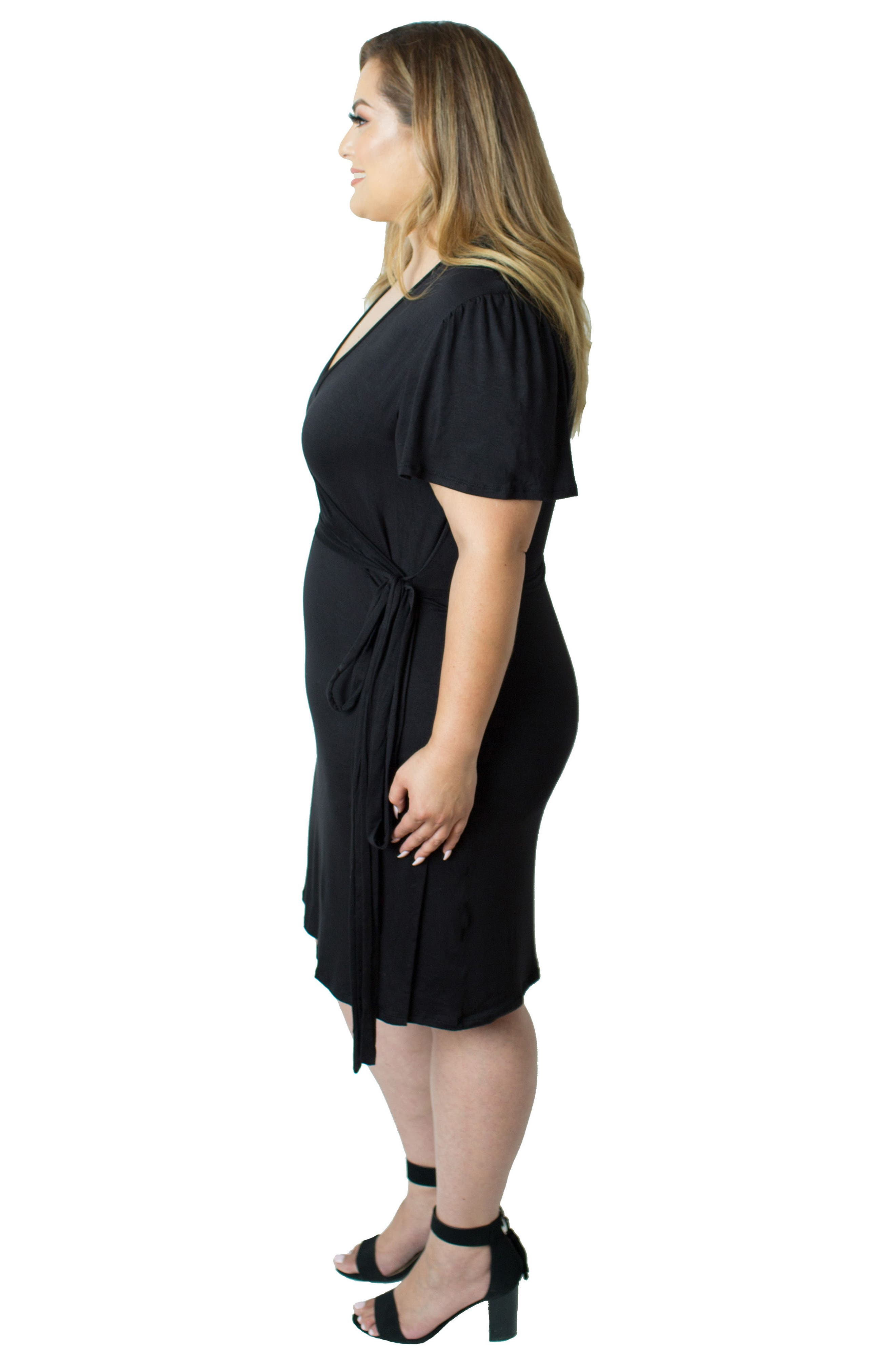 Wrap Nursing Dress,                             Alternate thumbnail 4, color,                             BLACK