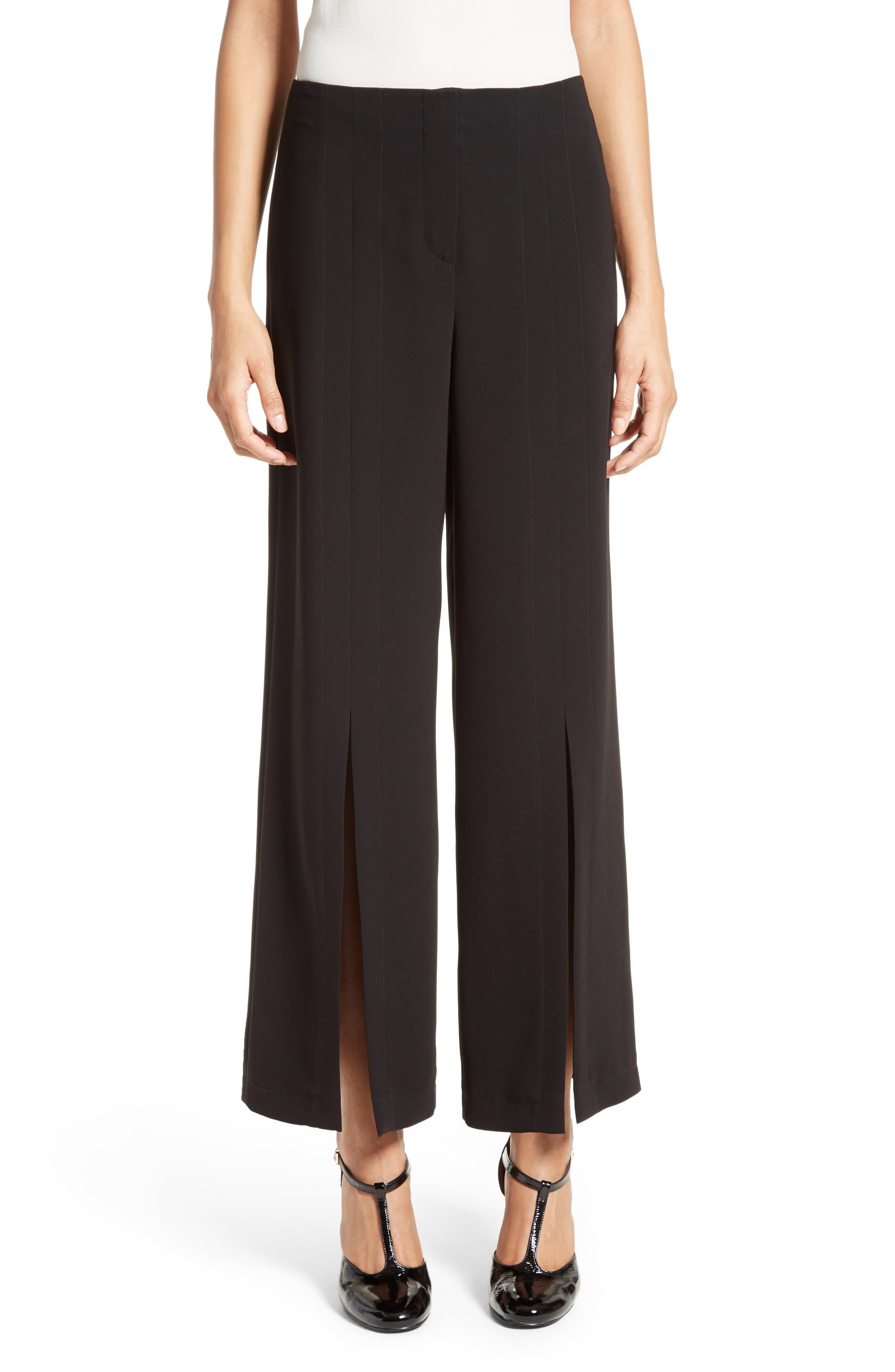 Slit Wide Leg Pants,                         Main,                         color, BLACK