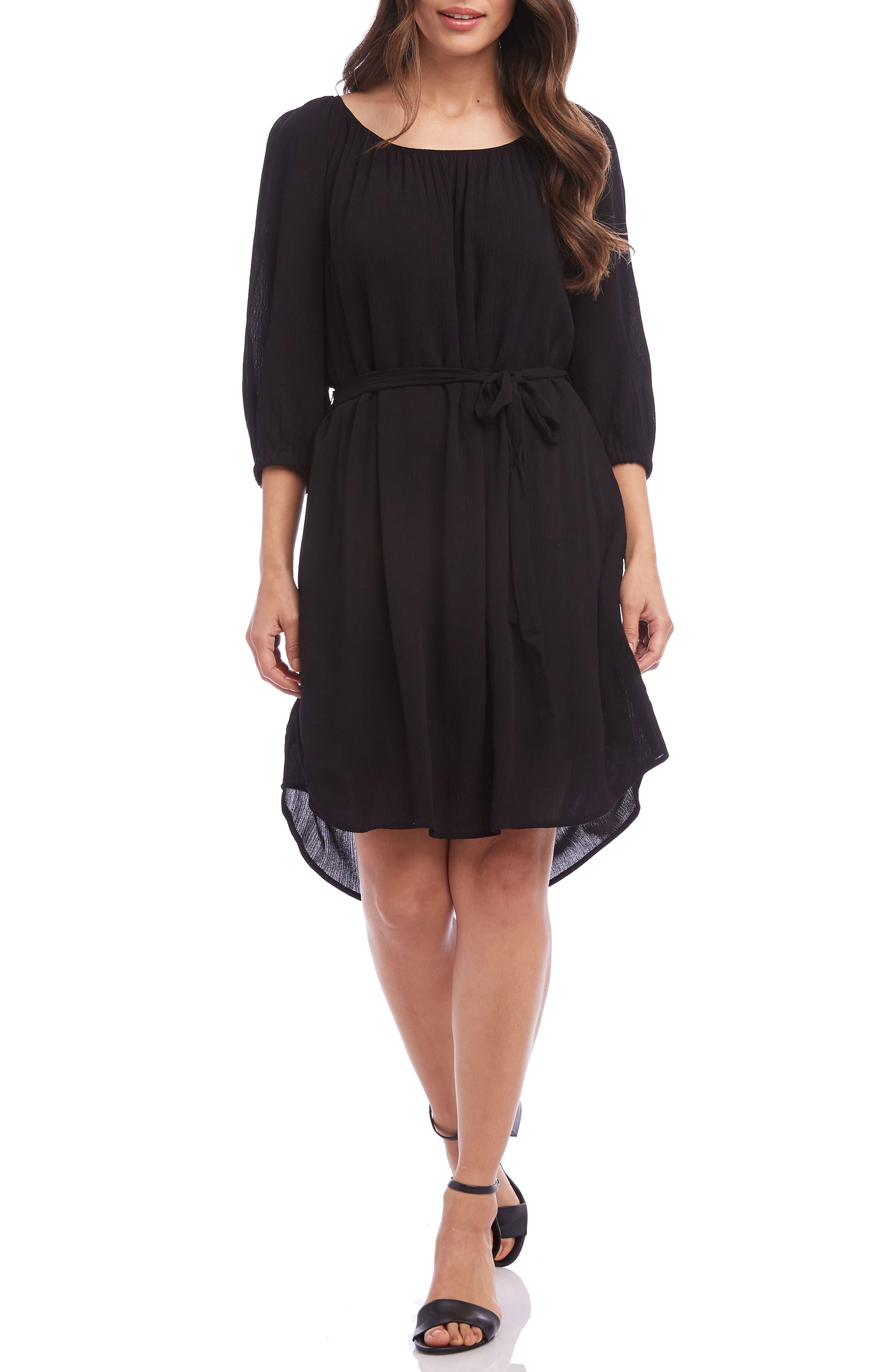Karen Kane Belted A-Line Dress, Black