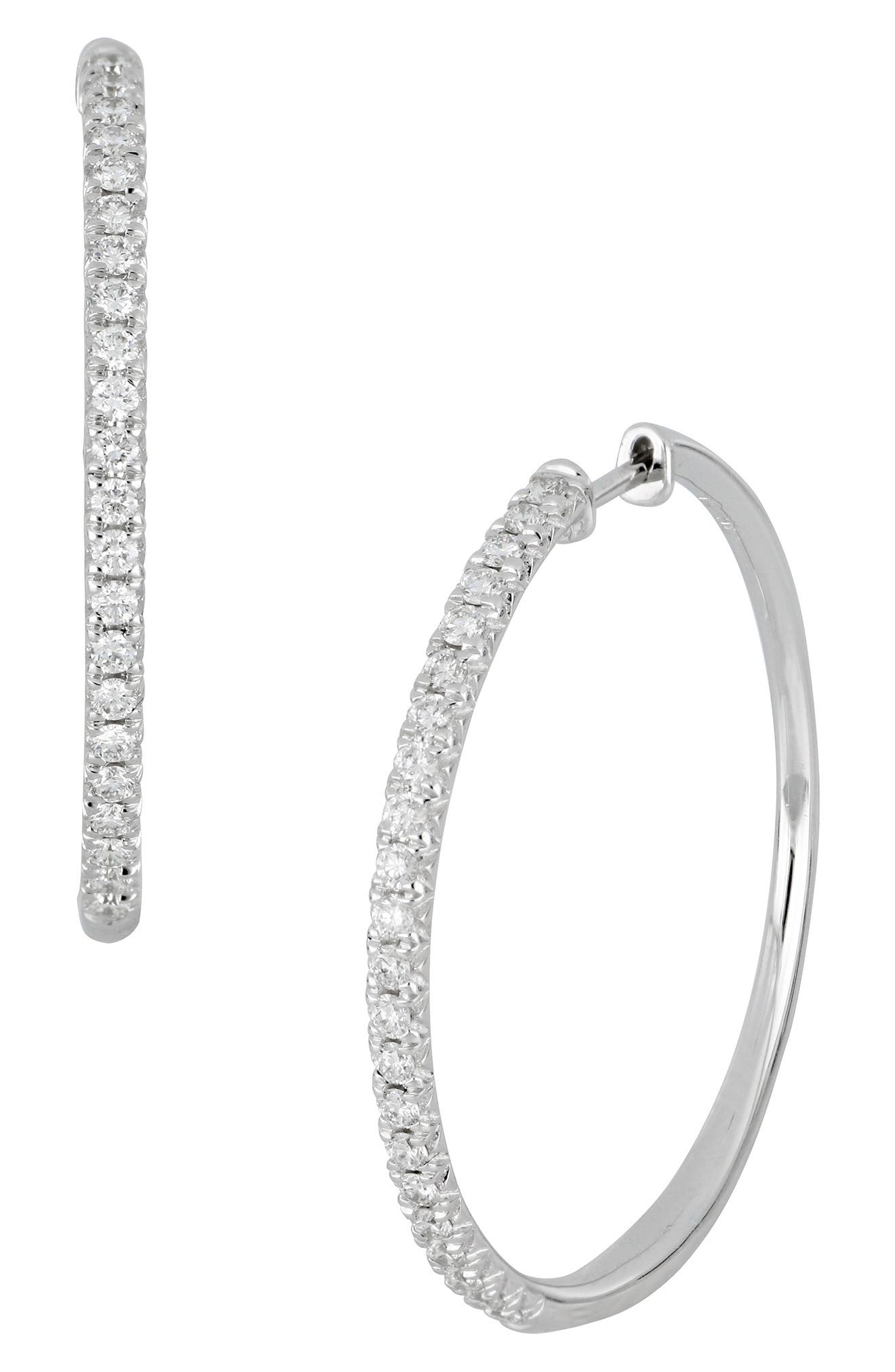 Kiera French Cut Diamond Hoop Earrings,                             Main thumbnail 1, color,                             D0.75 GVS 18KWG
