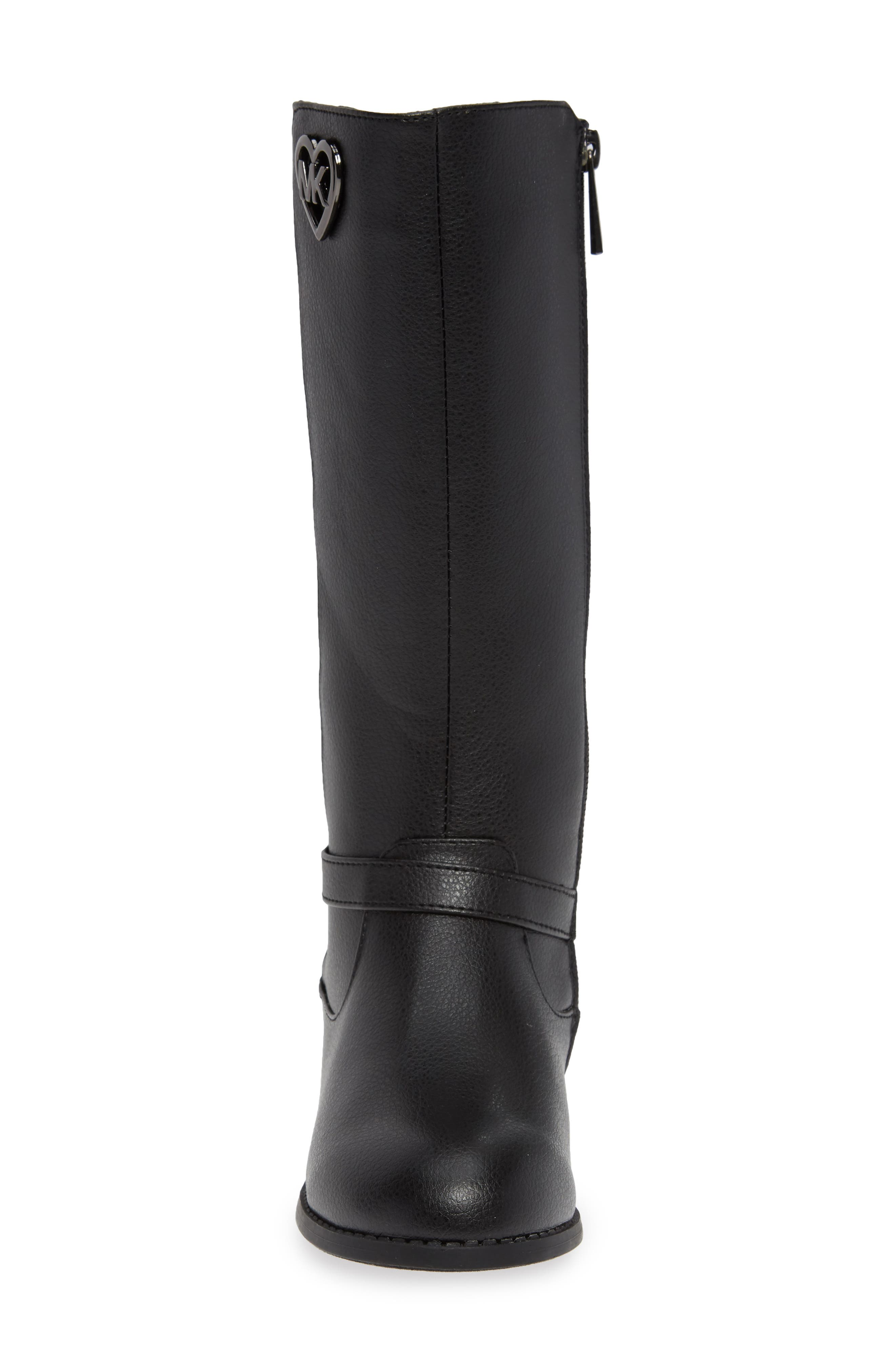 Emma Quinn Faux Leather Glitter Riding Boot,                             Alternate thumbnail 4, color,                             BLACK
