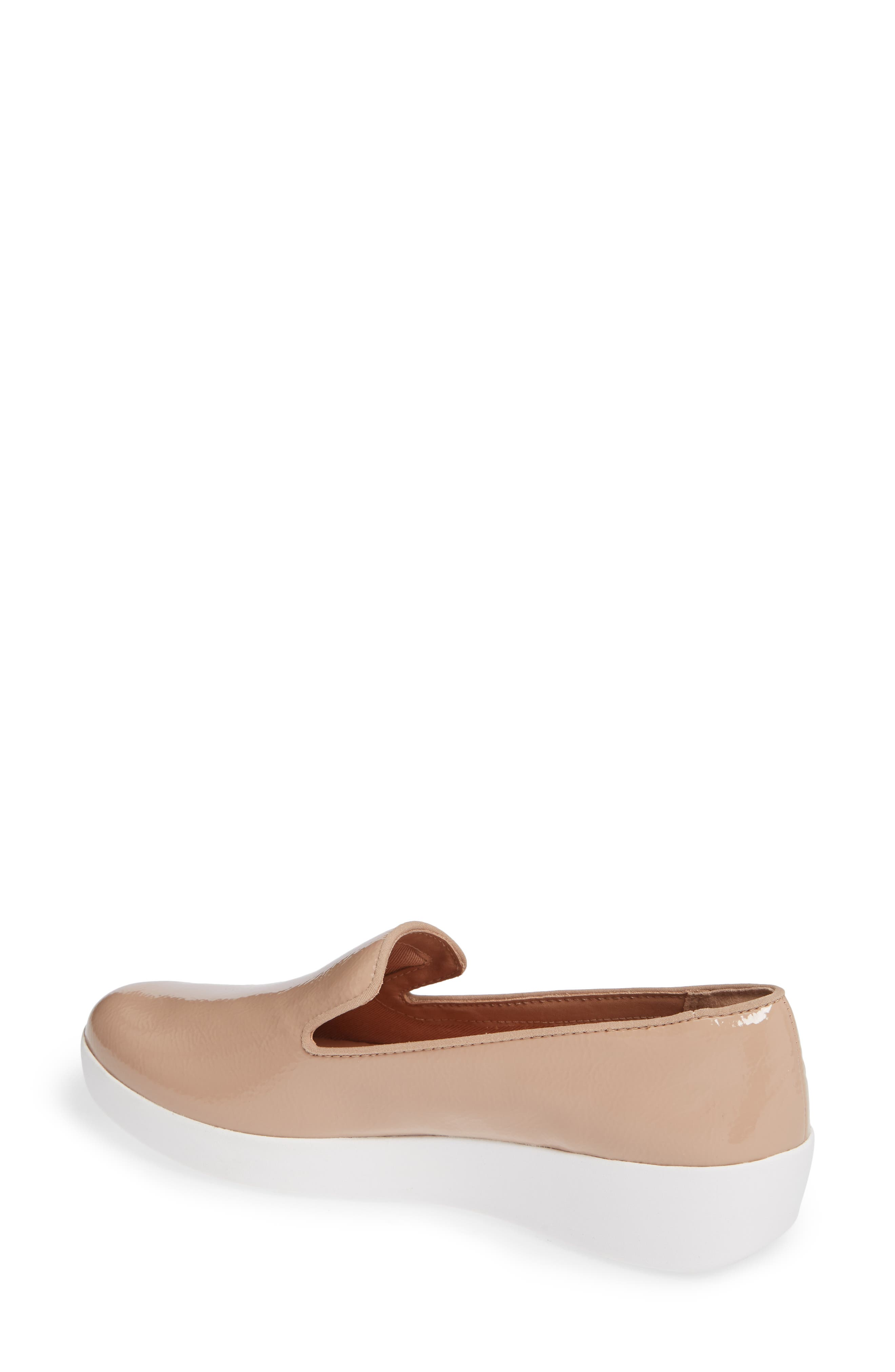 Audrey Smoking Slipper,                             Alternate thumbnail 2, color,                             TAUPE PATENT LEATHER