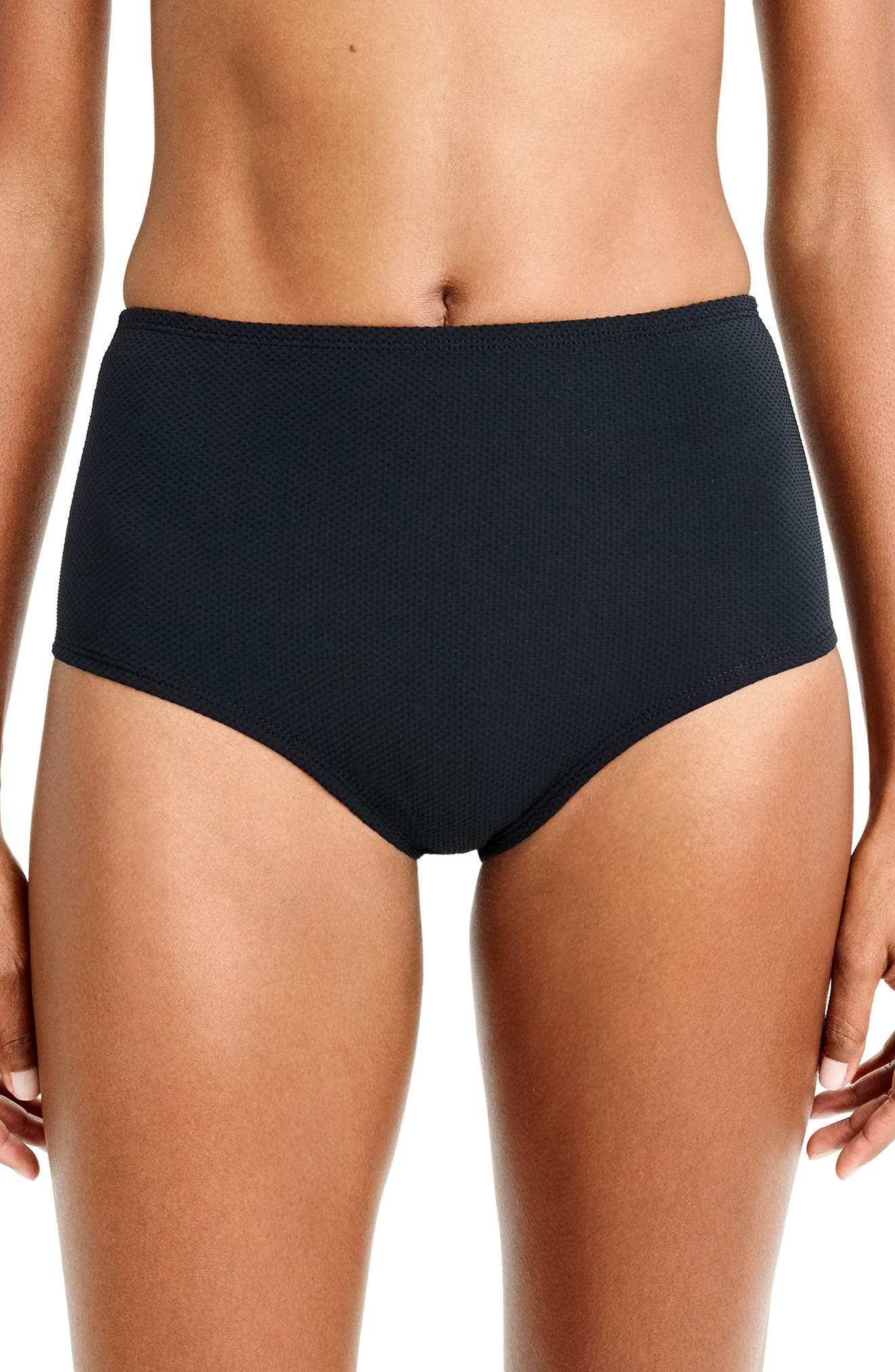 Piqué High Waist Bikini Bottoms,                         Main,                         color, 001