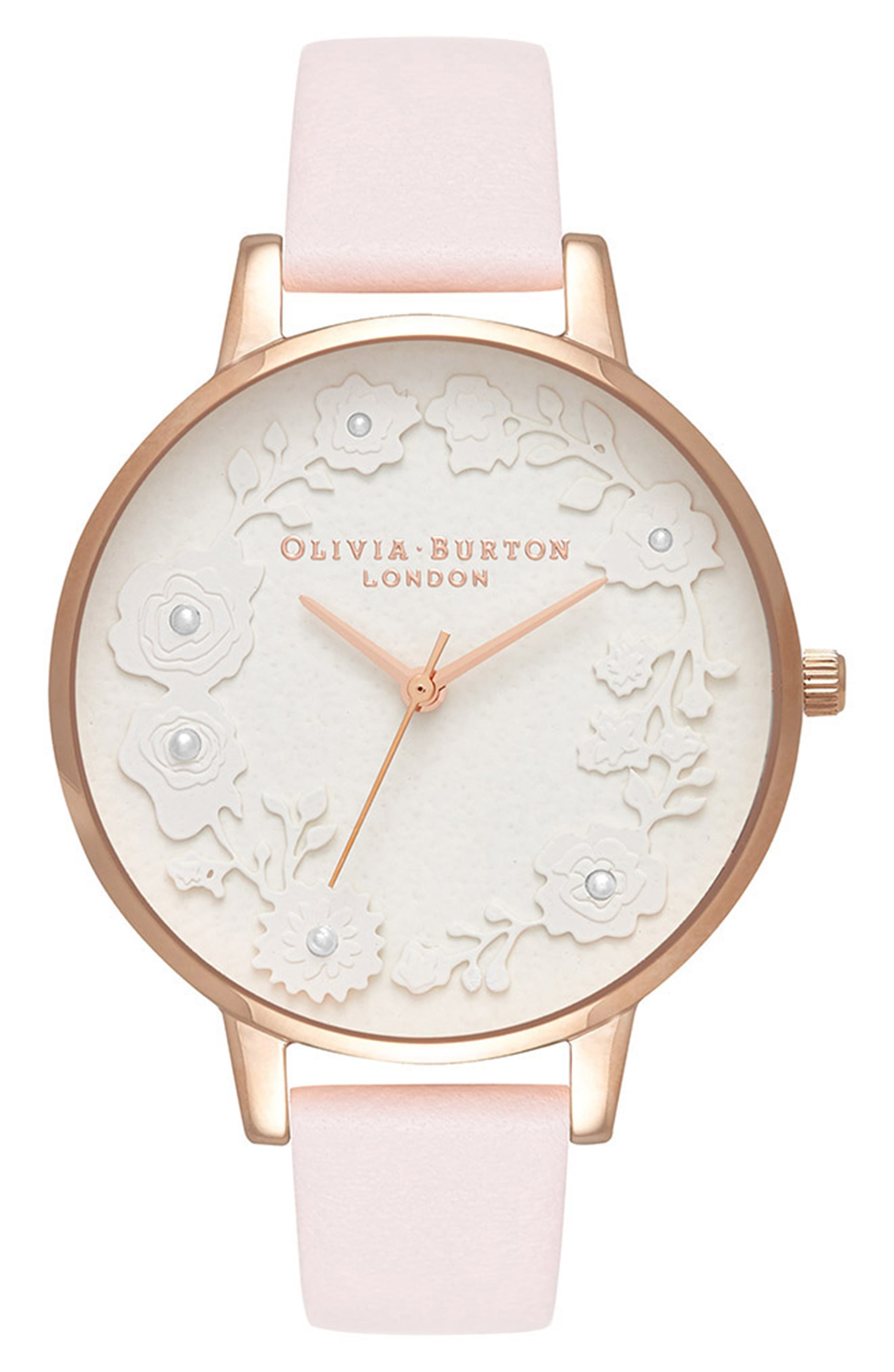 Artisan Dial Leather Strap Watch, 38mm,                         Main,                         color, BLOSSOM/ WHITE/ ROSE GOLD