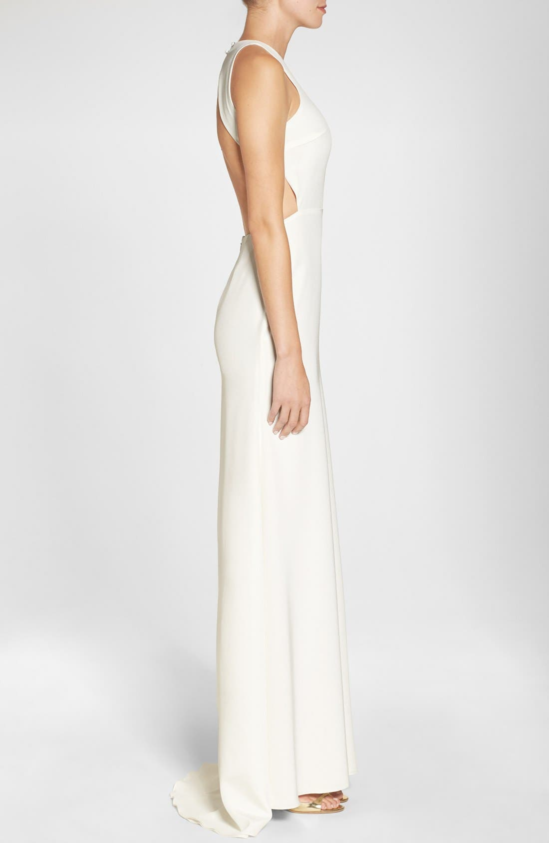 Cutout Back Silk Crepe Halter Style Gown,                             Alternate thumbnail 3, color,                             100