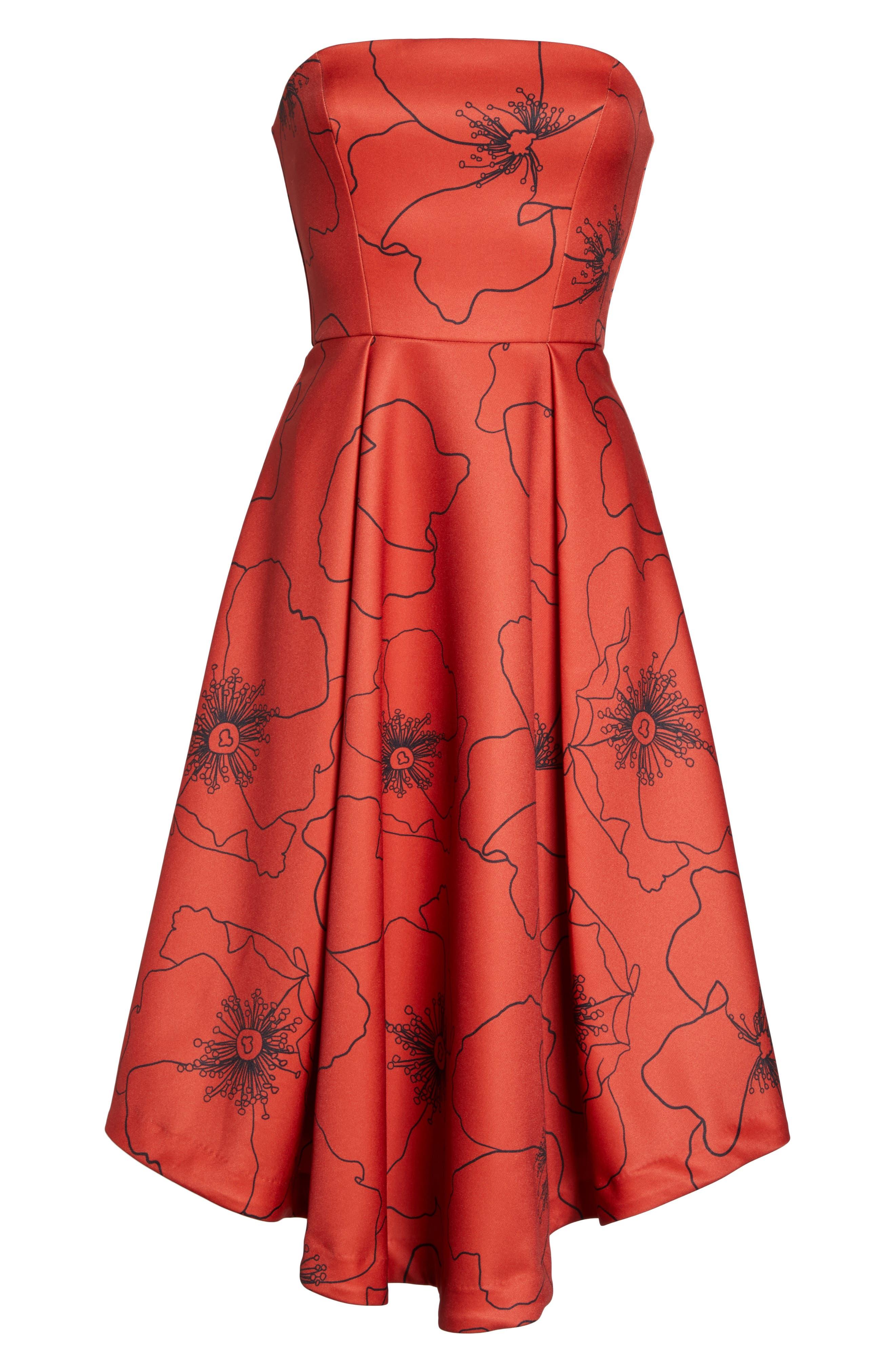 Burnt Fields Strapless Dress,                             Alternate thumbnail 6, color,                             606