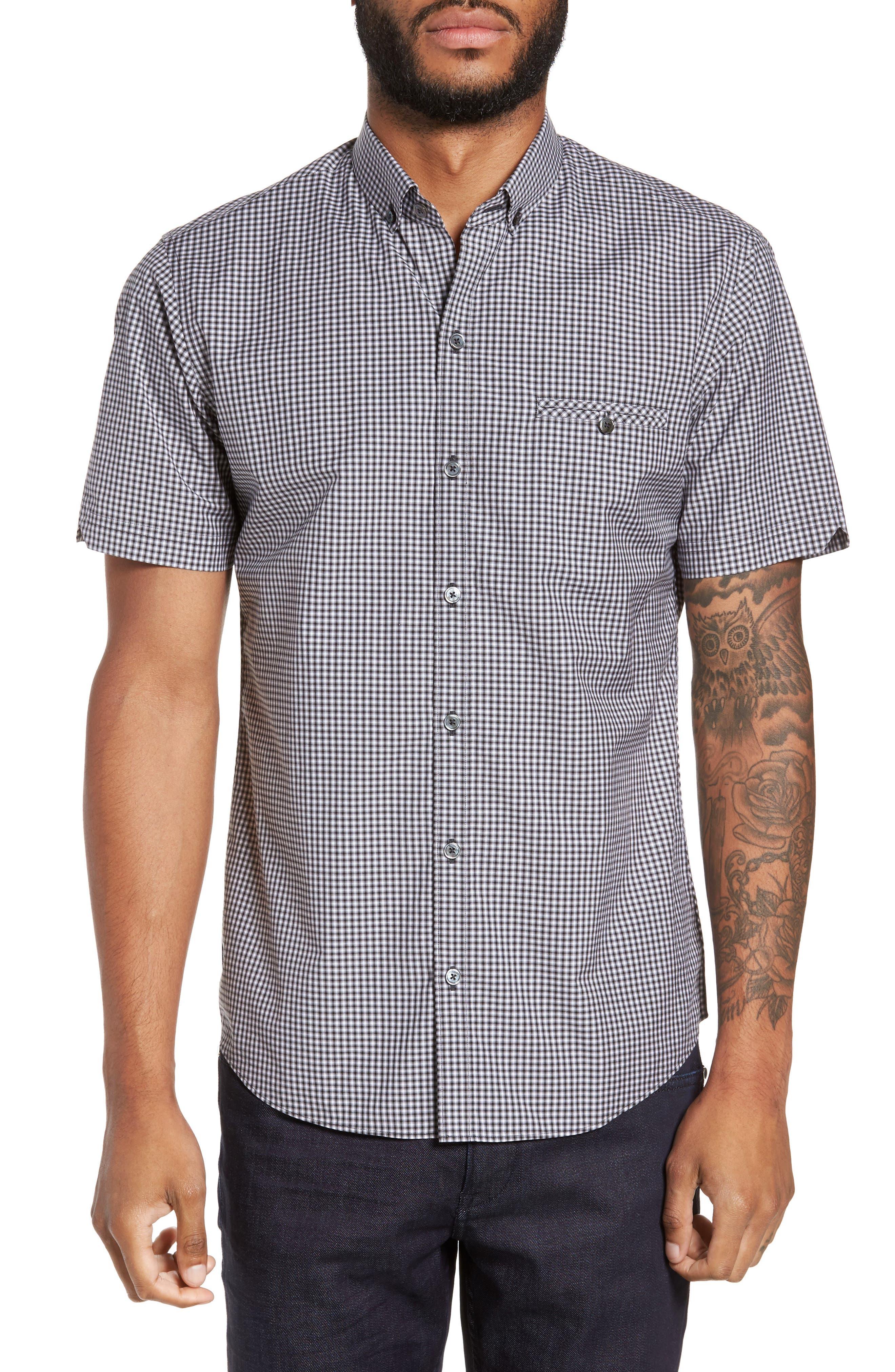 Ahmed Slim Fit Plaid Sport Shirt,                         Main,                         color, 021