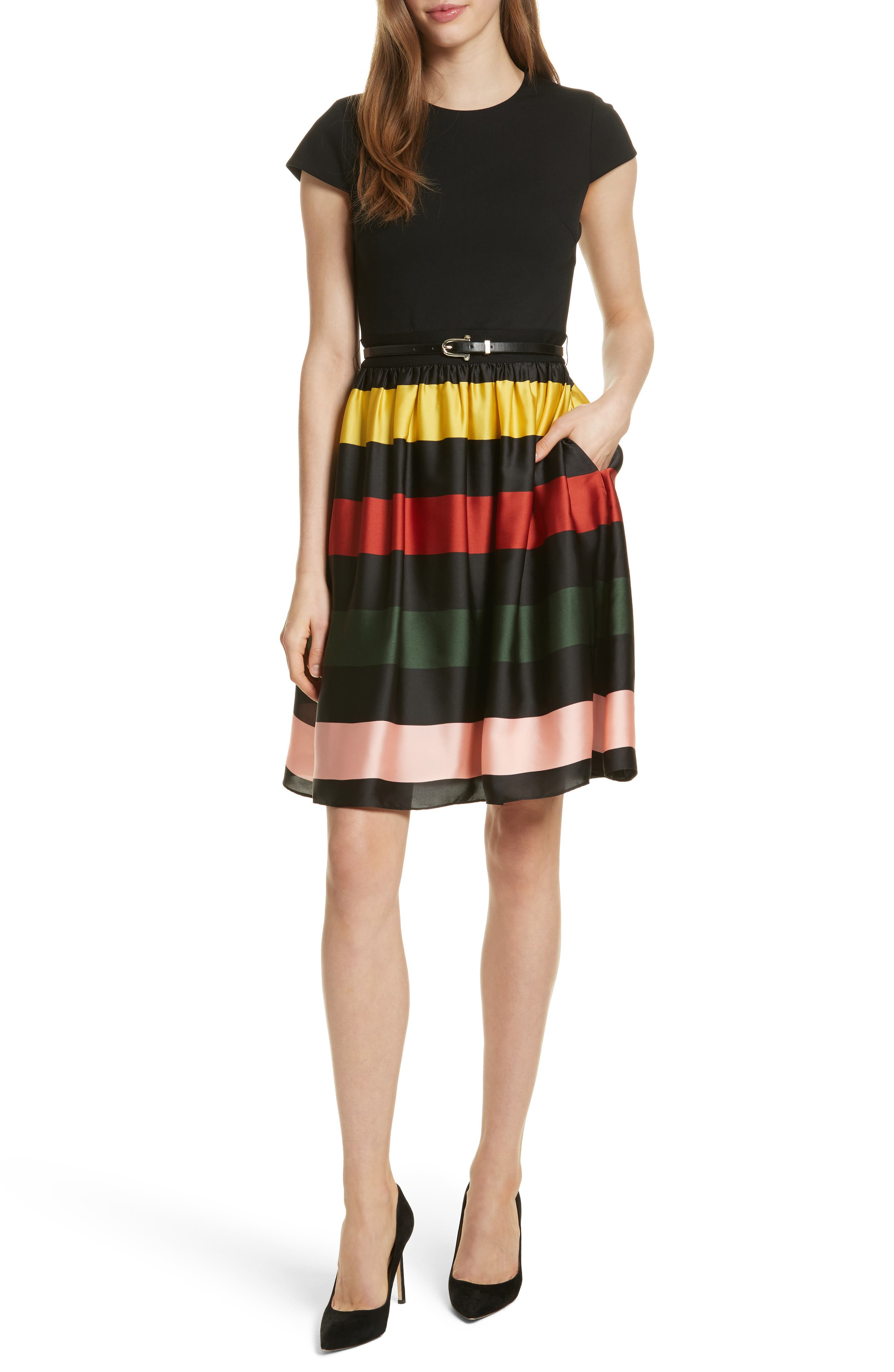 TED BAKER LONDON,                             Cruise Stripe Fit & Flare Dress,                             Main thumbnail 1, color,                             001