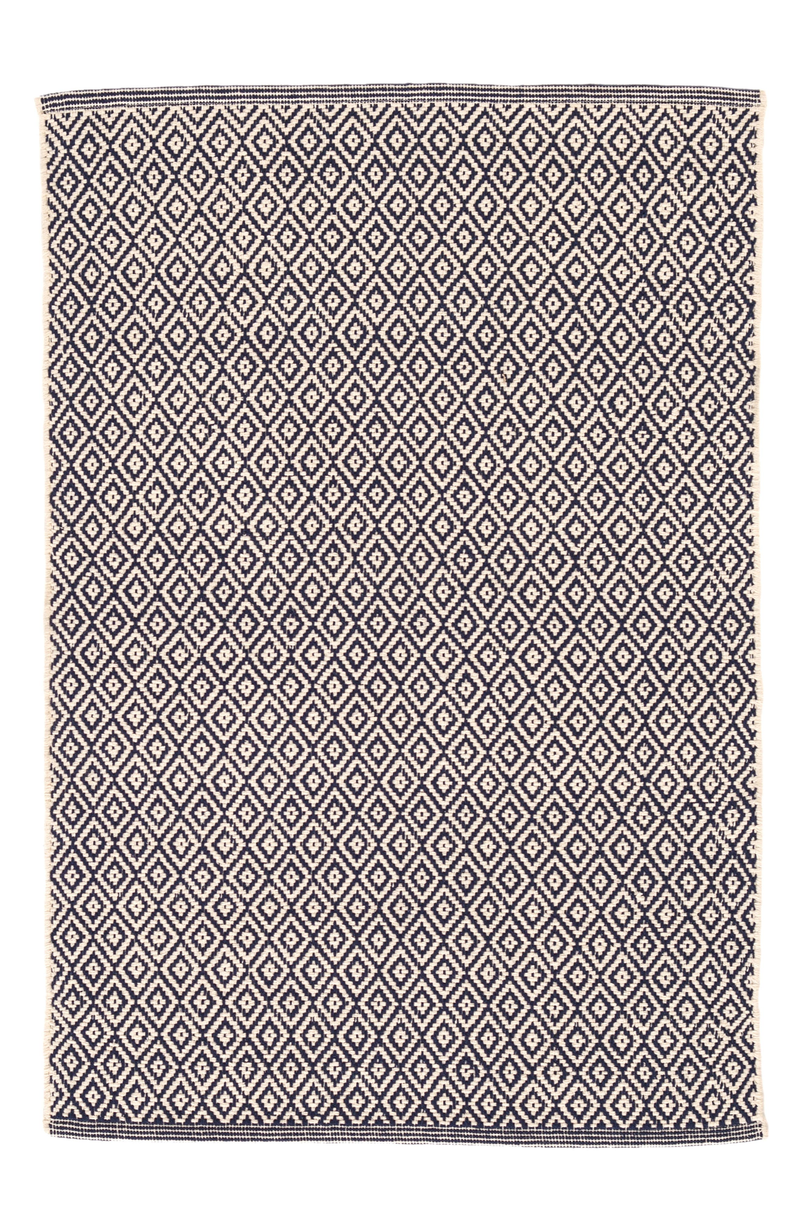 Lattice Handwoven Cotton Rug,                             Main thumbnail 1, color,                             BLUE