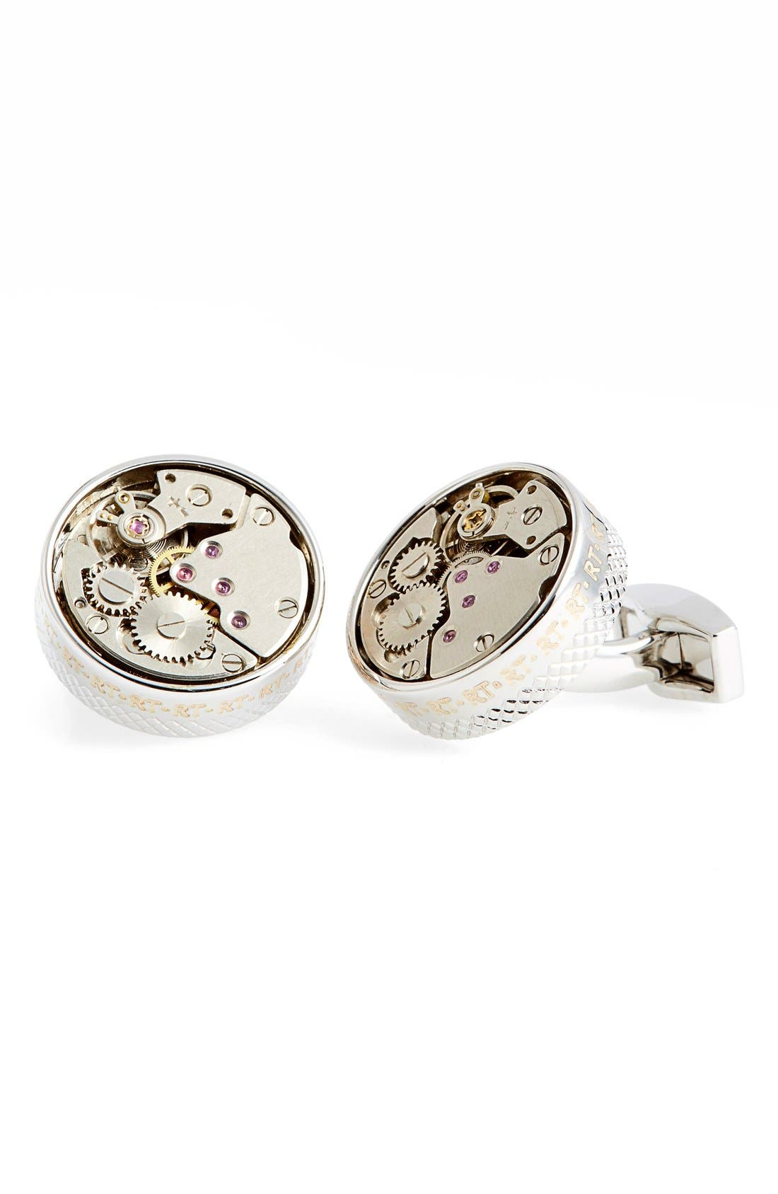 'Skeleton' Cuff Links,                             Main thumbnail 1, color,                             SILVER