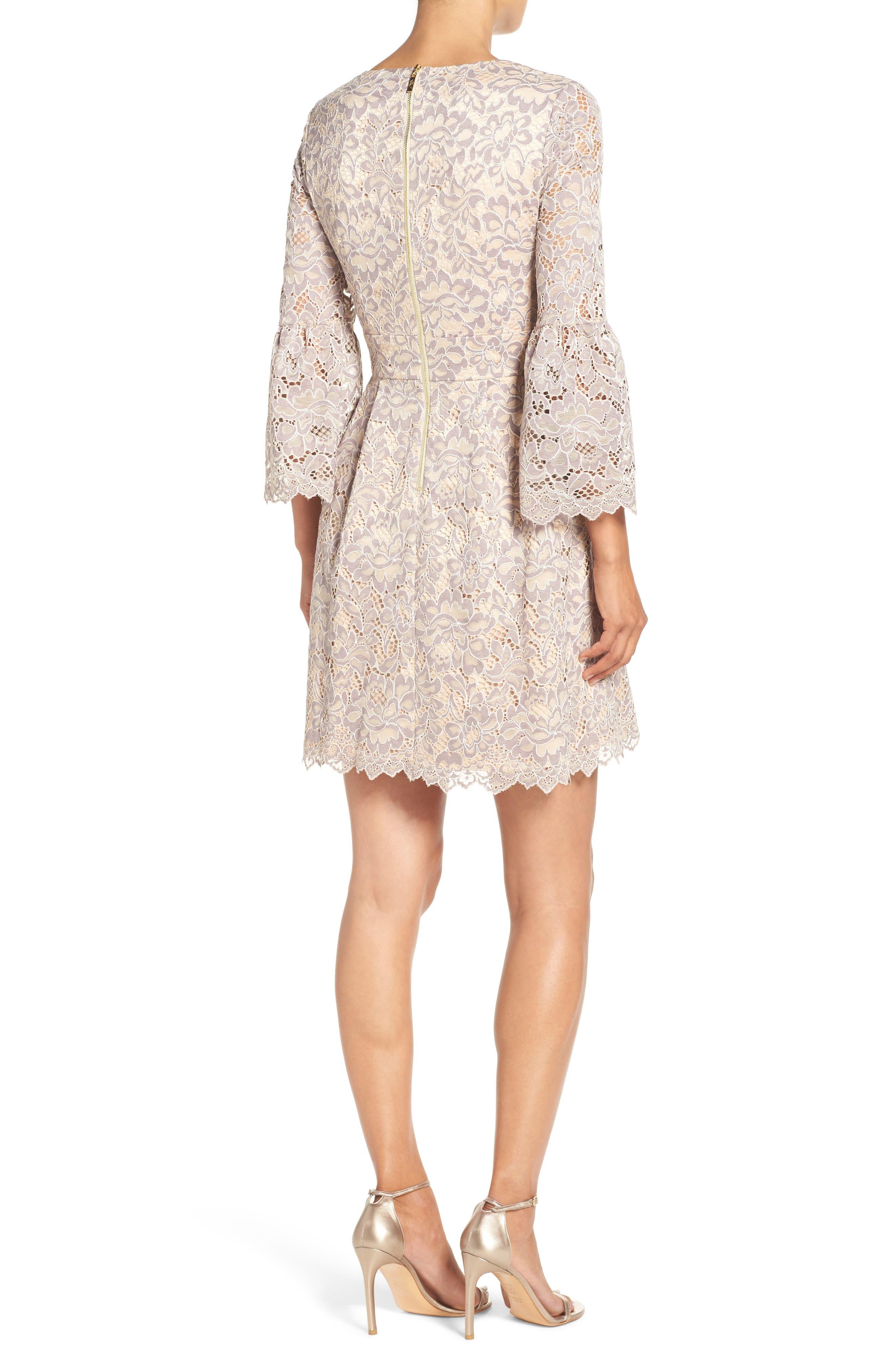 Lace Fit & Flare Dress,                             Alternate thumbnail 3, color,                             030