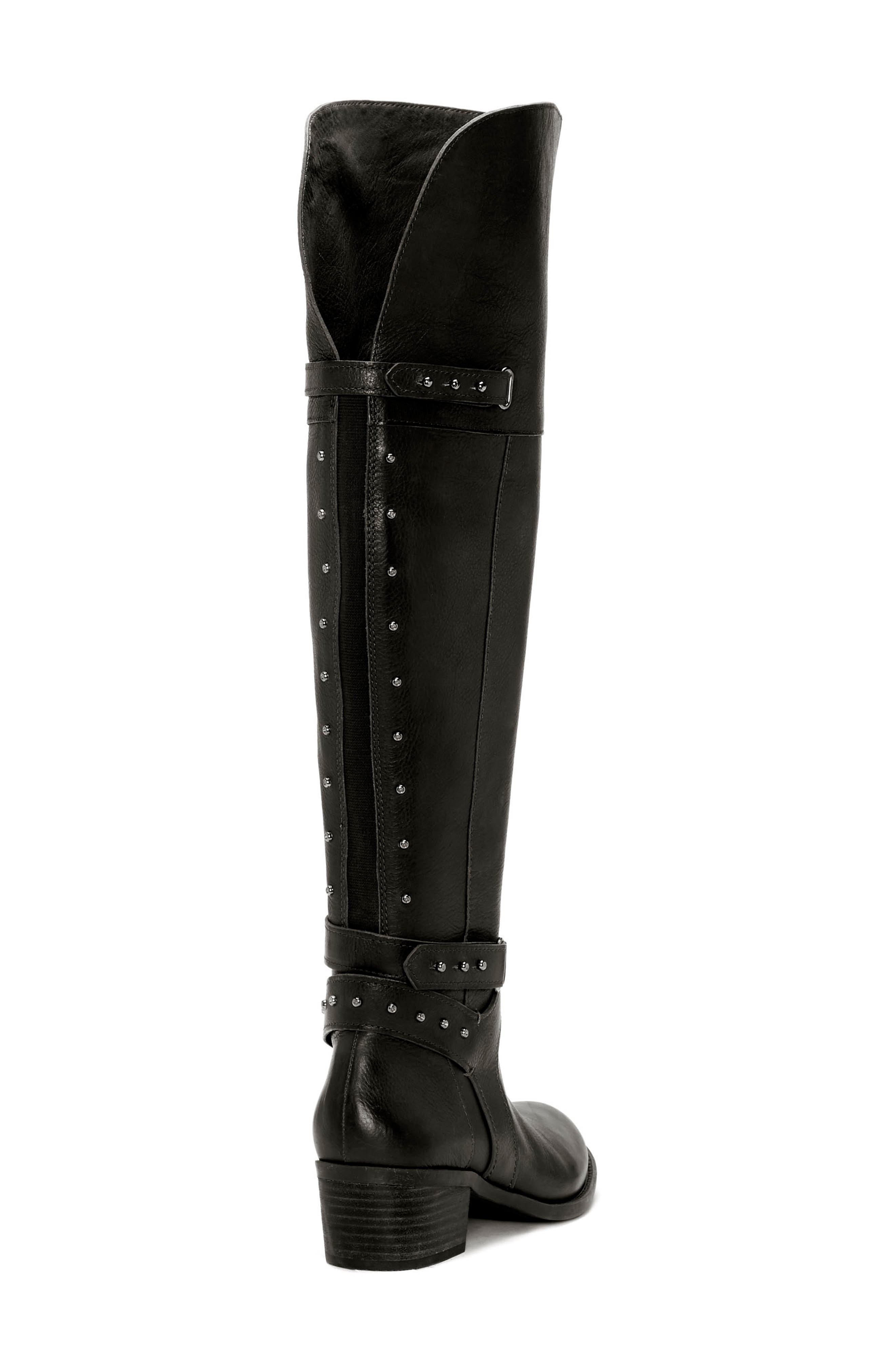 Bestant Over the Knee Boot,                             Alternate thumbnail 2, color,                             BLACK LEATHER WIDE CALF