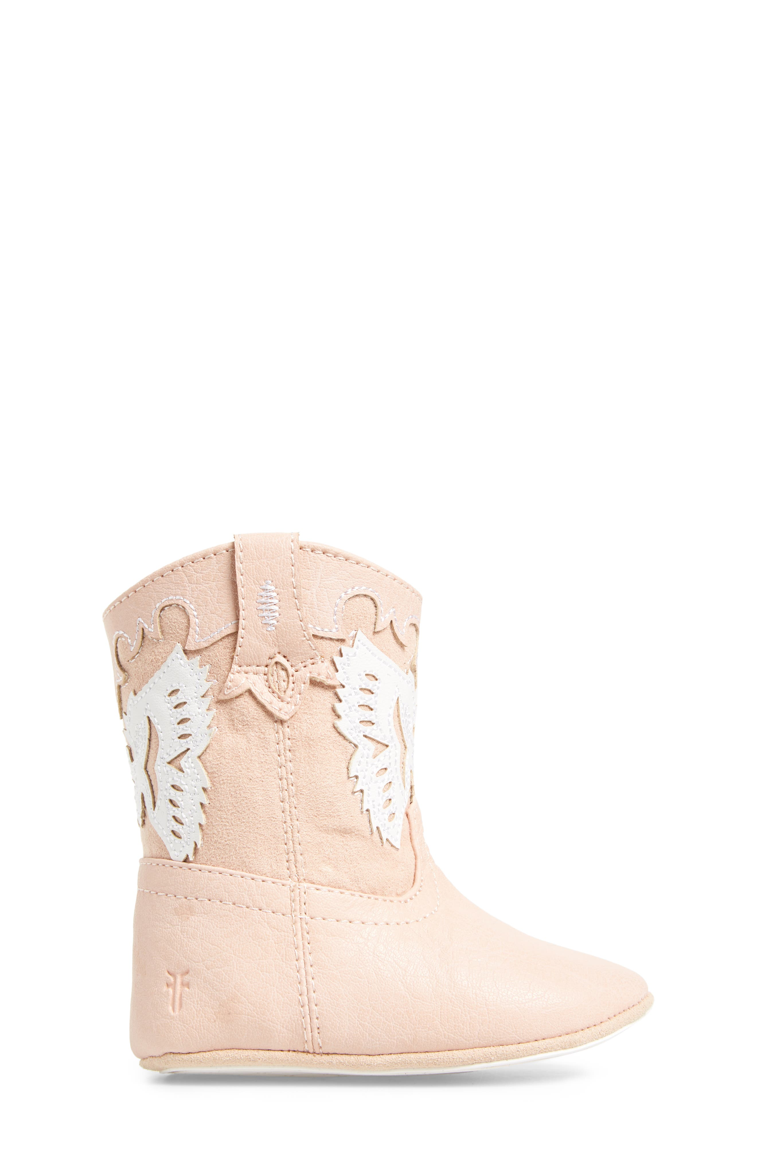 Baby Firebird Western Crib Bootie,                             Alternate thumbnail 3, color,                             BABY PINK