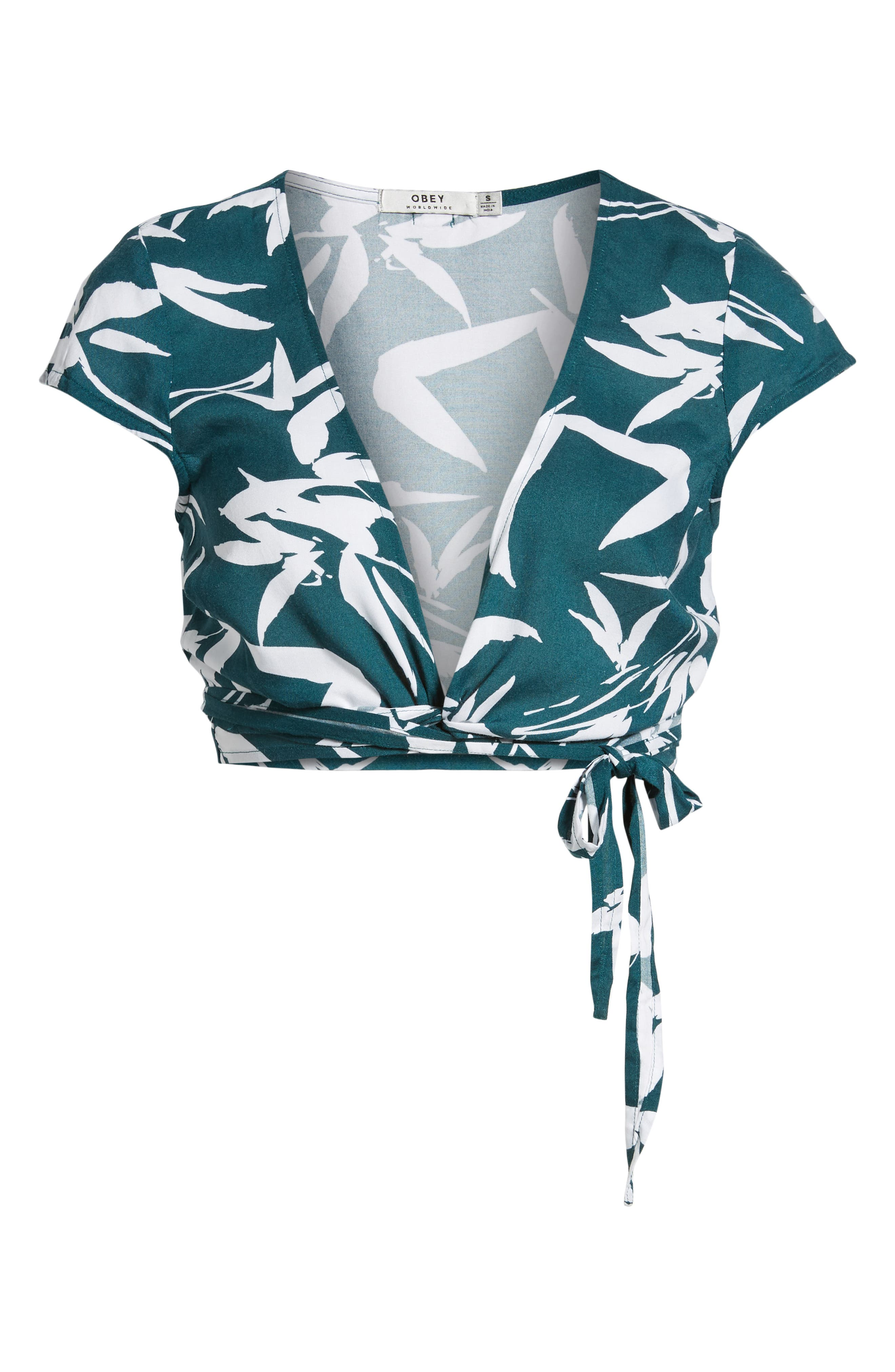 Calico Leaf Print Wrap Top,                             Alternate thumbnail 6, color,                             300
