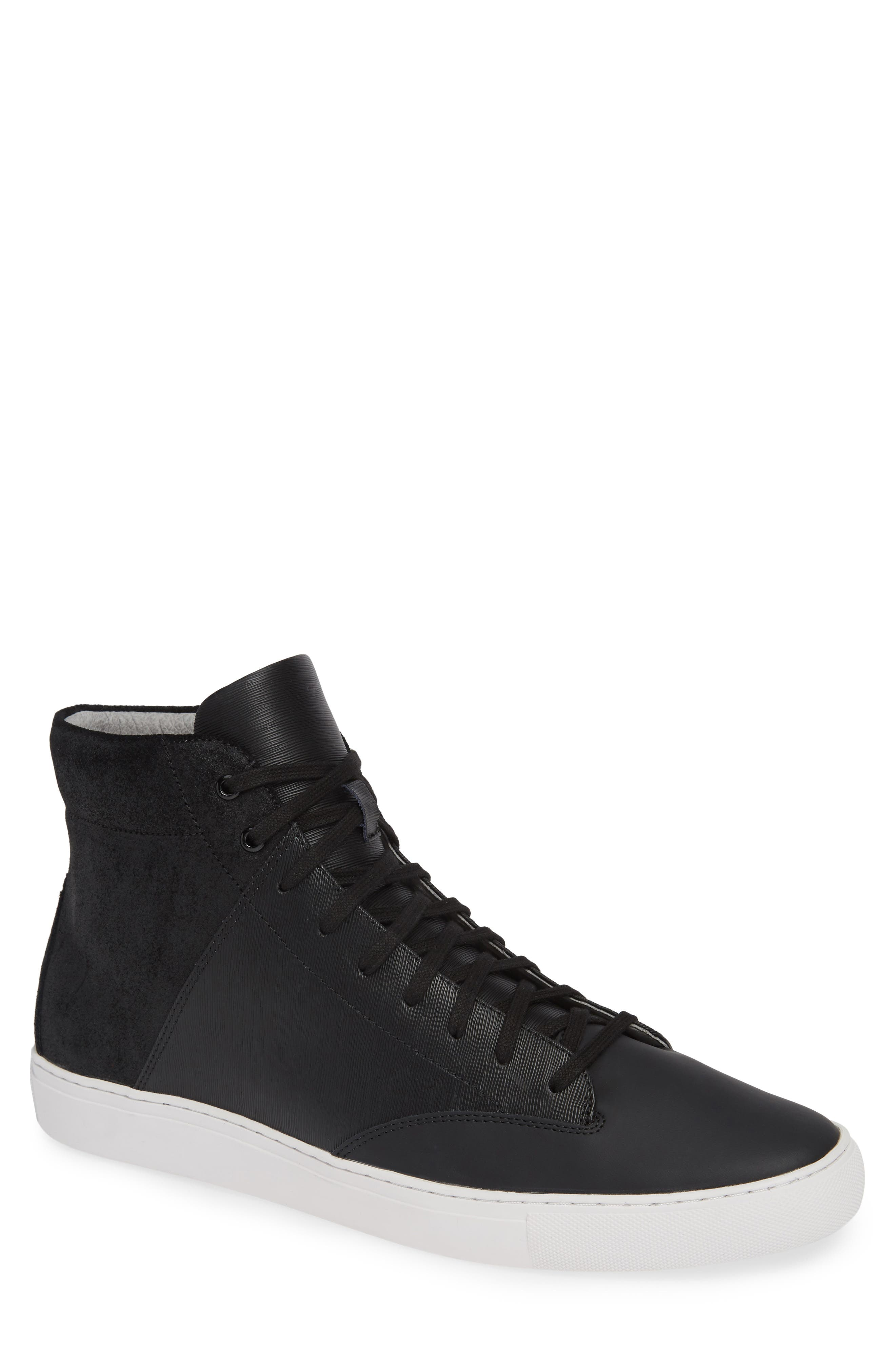 'Porter' High Top Sneaker,                             Main thumbnail 1, color,                             BLACK SUEDE/ LEATHER