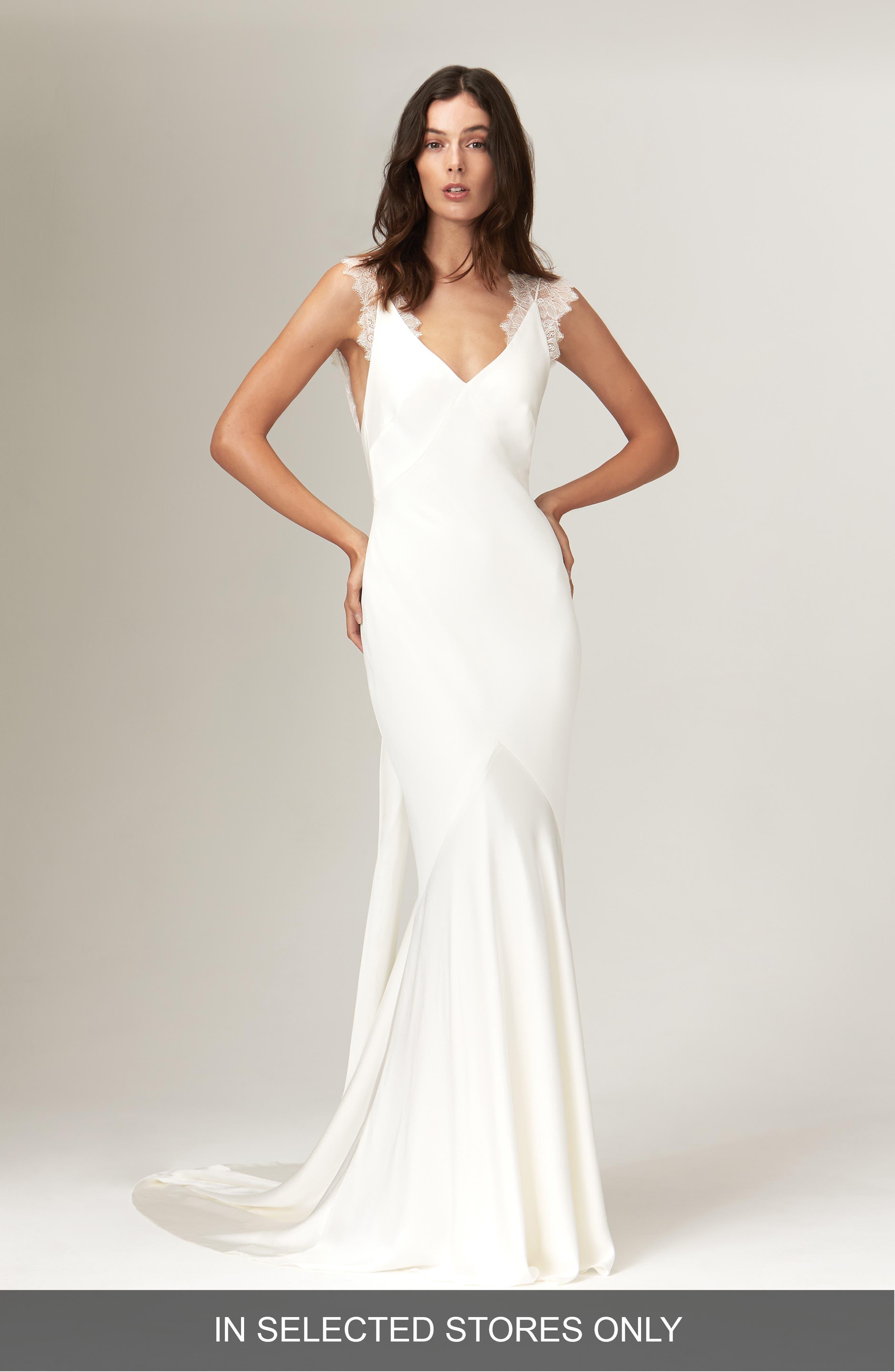 Alma Satin V-Neck Lace Detail Wedding Dress in Ivory