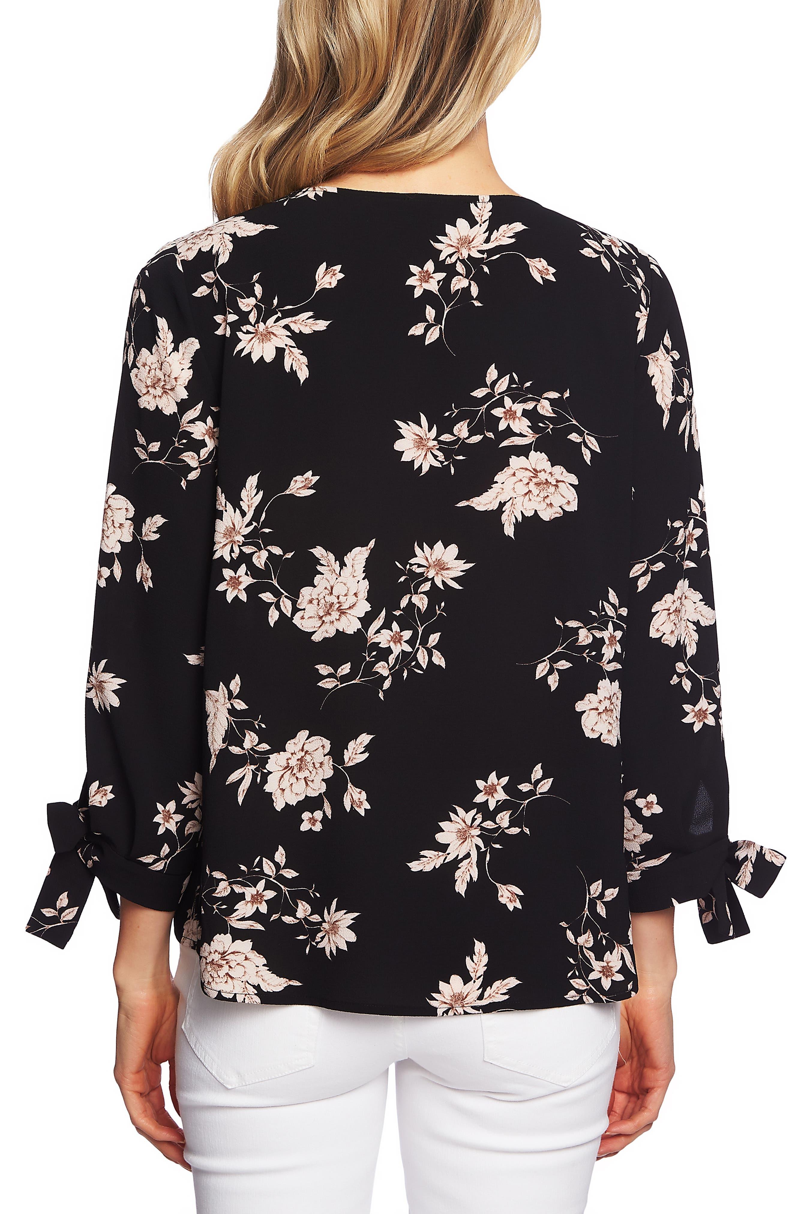 CECE,                             Etched Floral Blouse,                             Alternate thumbnail 2, color,                             RICK BLACK