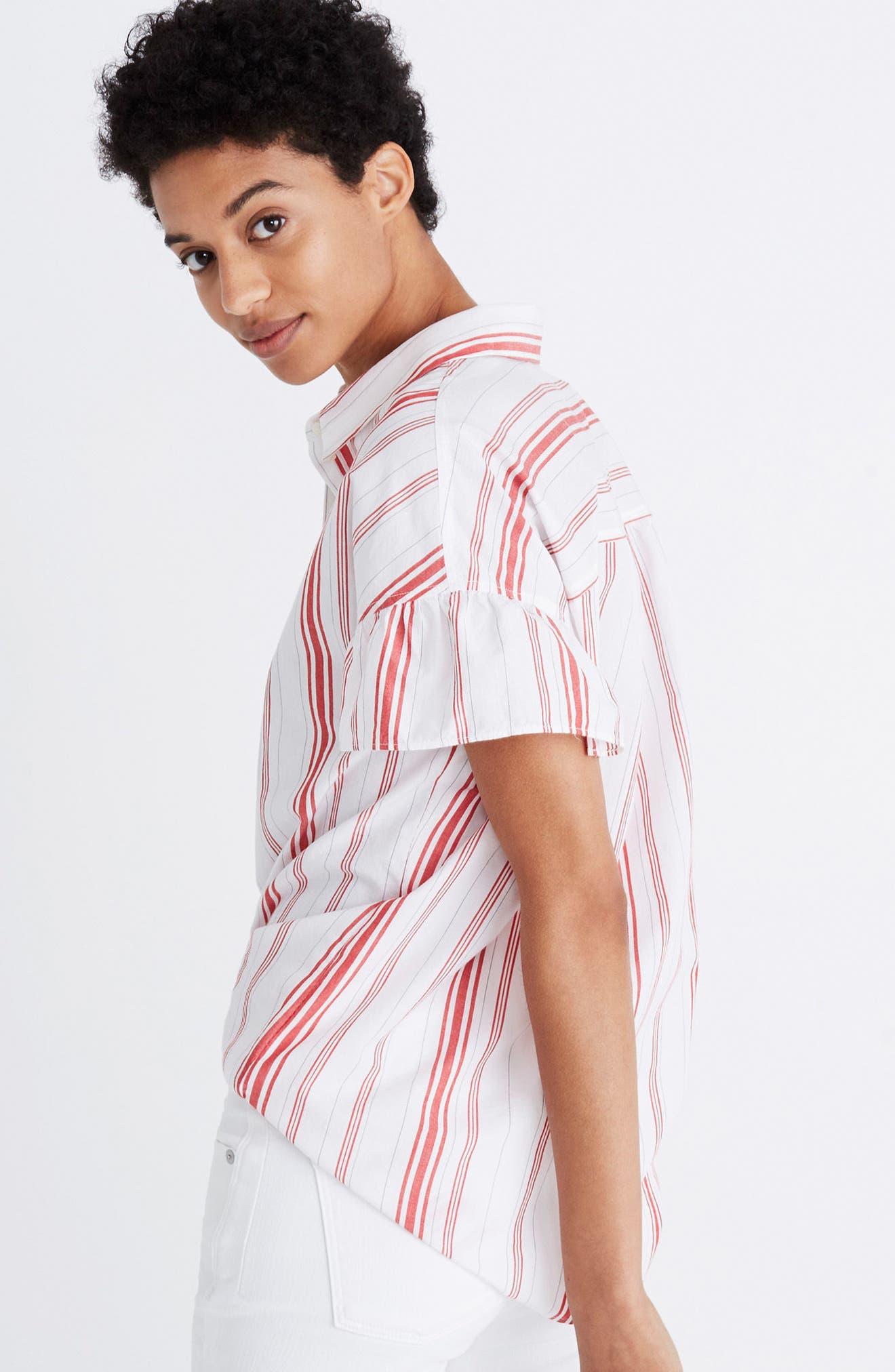 Central Stripe Ruffle Sleeve Shirt,                             Alternate thumbnail 4, color,                             600