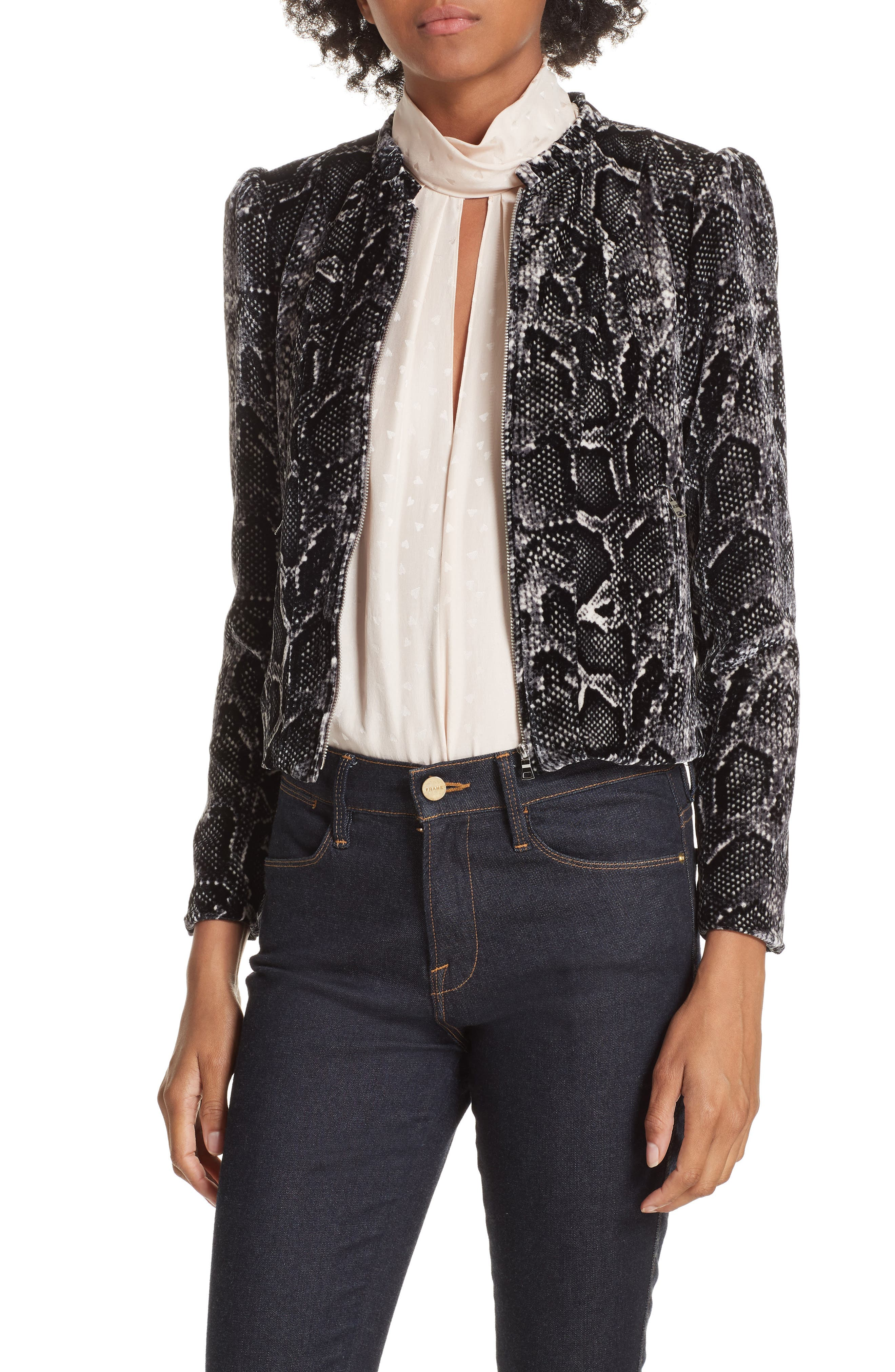 Snake Print Velvet Jacket,                             Main thumbnail 1, color,                             WASHED BLACK COMBO