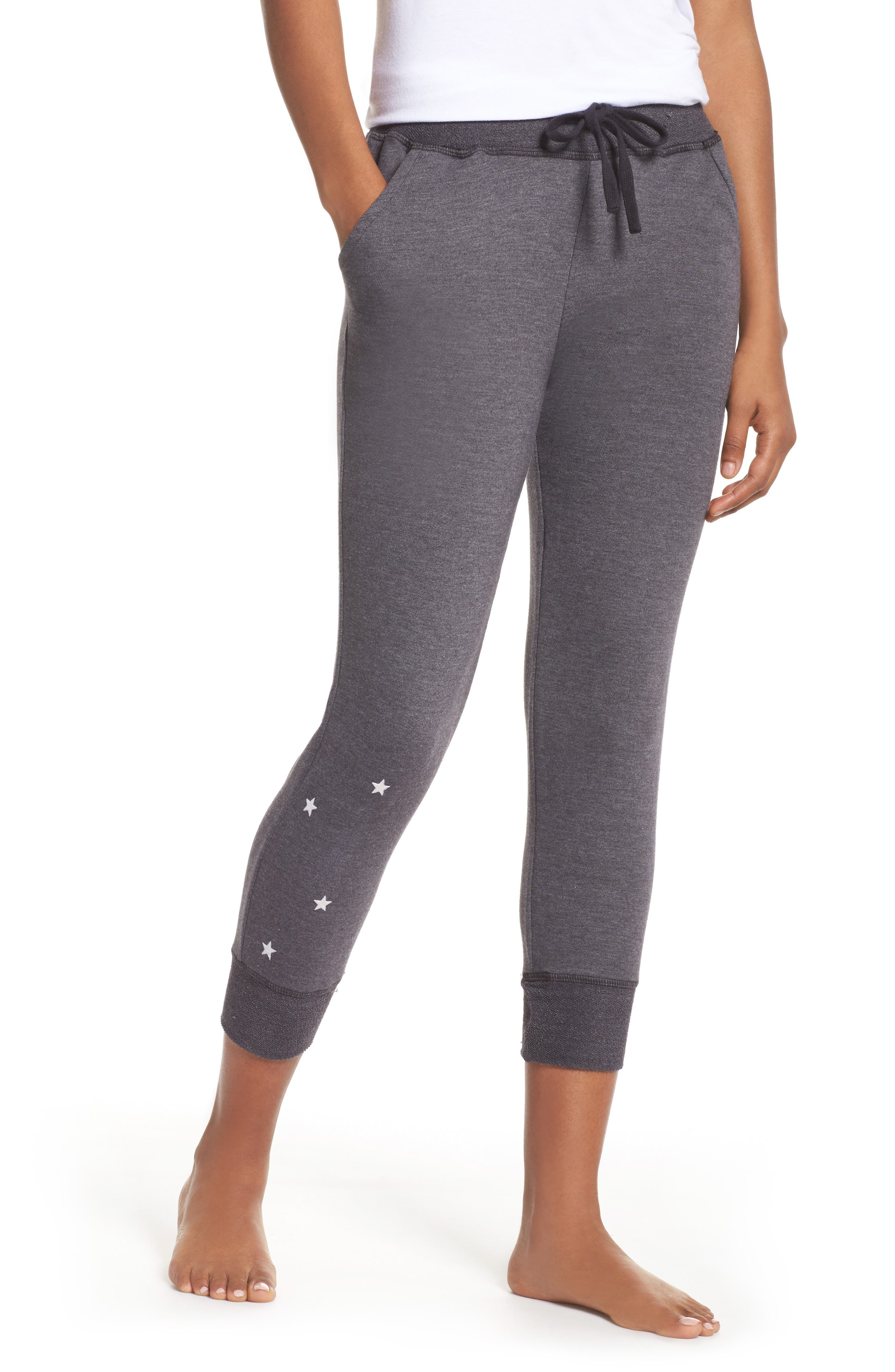 Stars Crop Lounge Pants,                             Main thumbnail 1, color,                             001