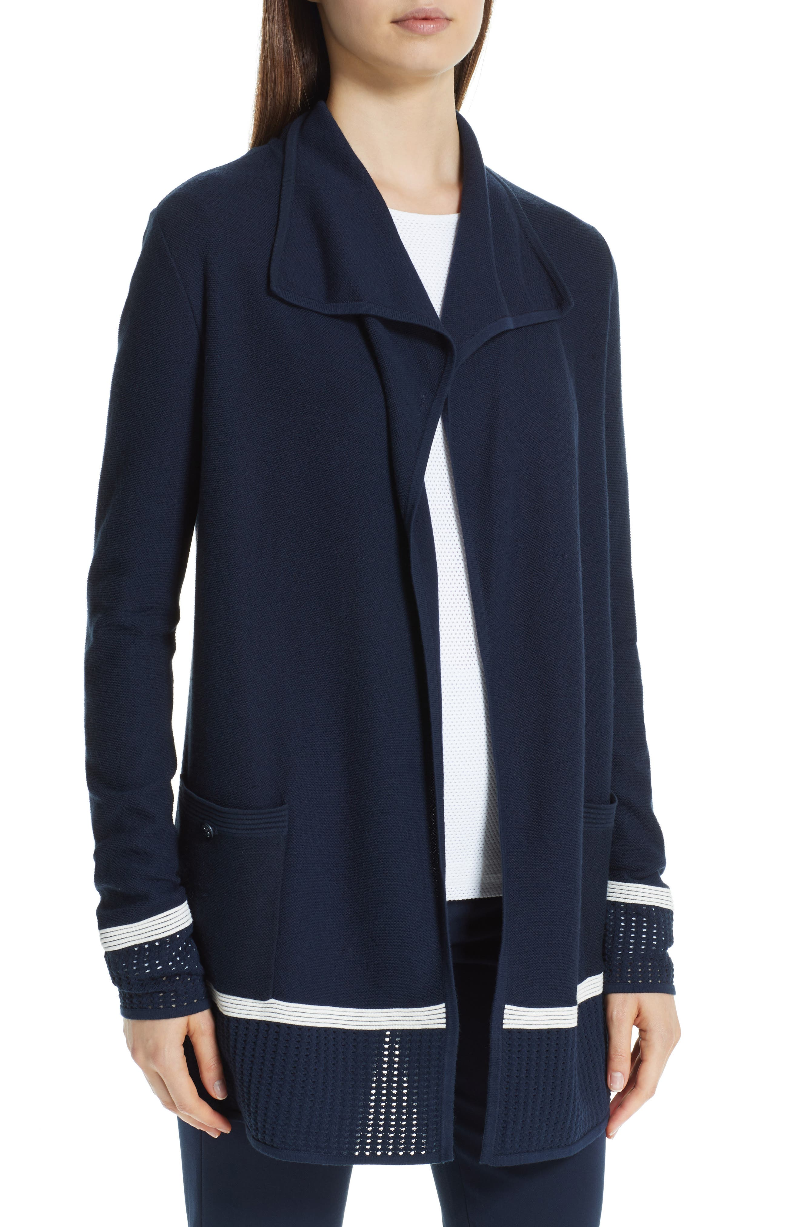 ST. JOHN COLLECTION,                             Mesh Trim Cardigan,                             Alternate thumbnail 4, color,                             NAVY/ CREAM