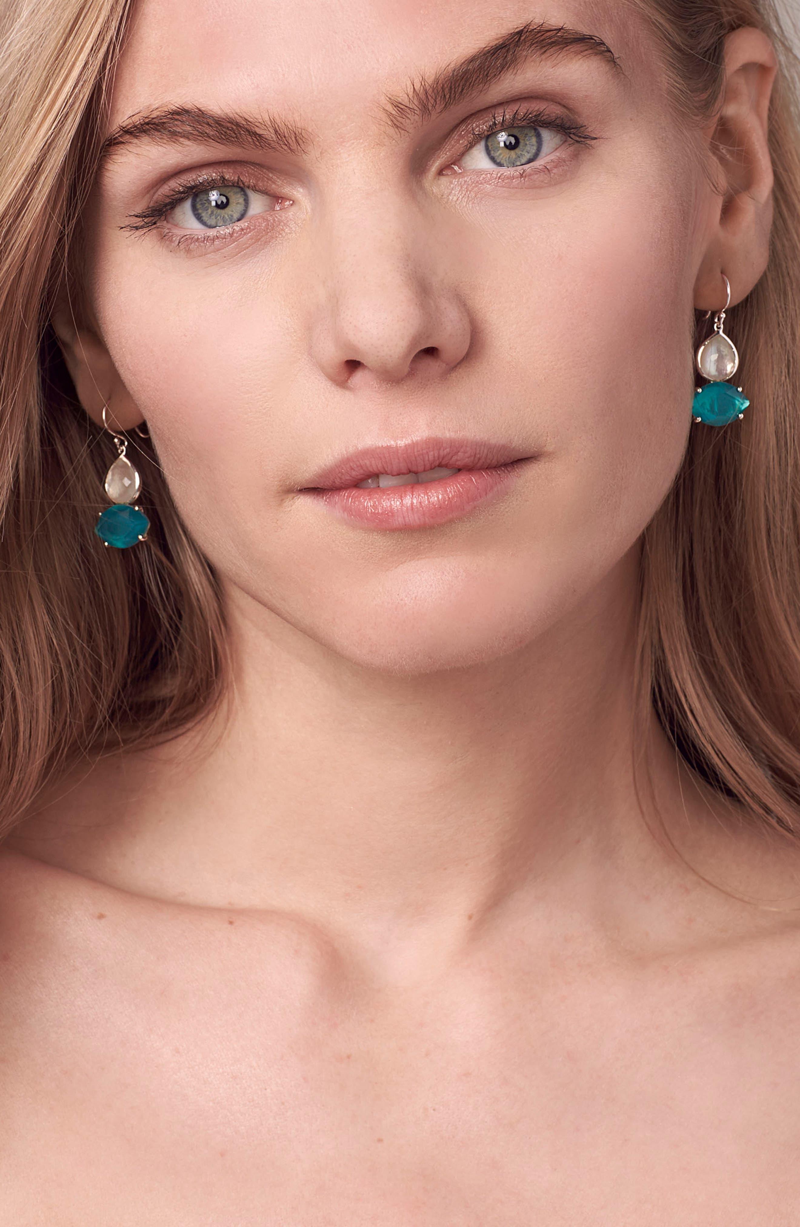Wonderland 2-Stone Drop Earrings,                             Alternate thumbnail 3, color,                             BLUE/ MOP