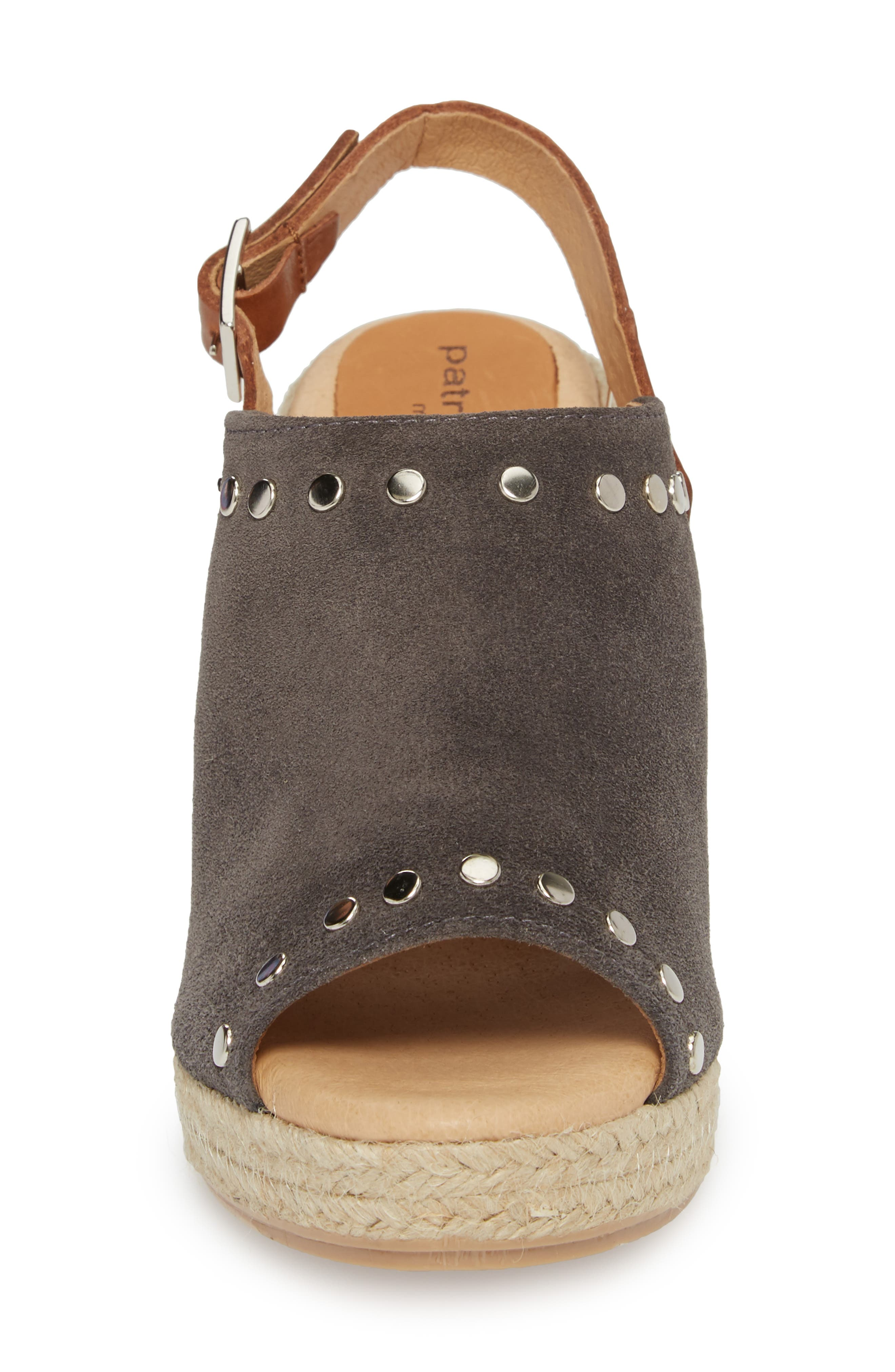Rockstar Espadrille Wedge Sandal,                             Alternate thumbnail 4, color,                             CHARCOAL SUEDE
