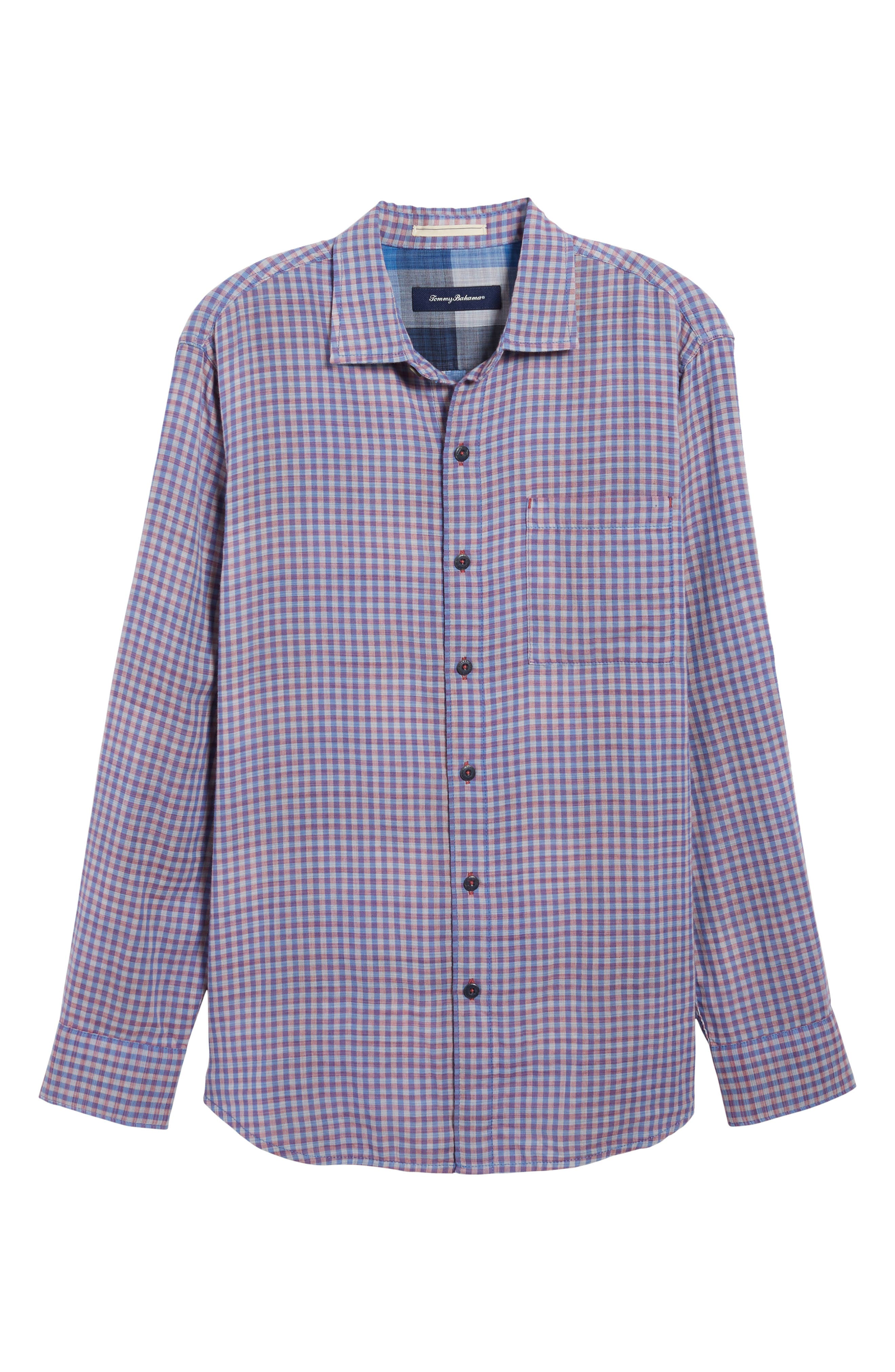 Dual Lux Gingham Sport Shirt,                             Alternate thumbnail 6, color,