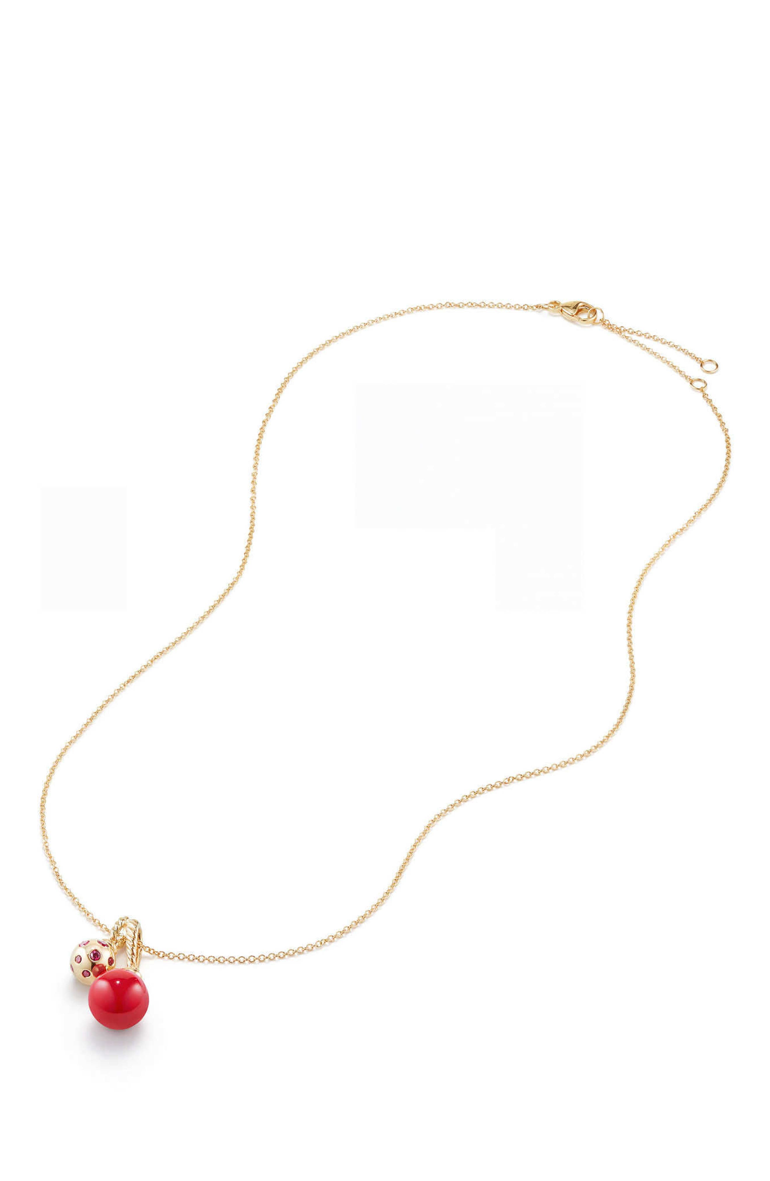 Solari Pendant Necklace in 18K Gold with Cherry Amber,                             Alternate thumbnail 2, color,                             YELLOW GOLD/ RED