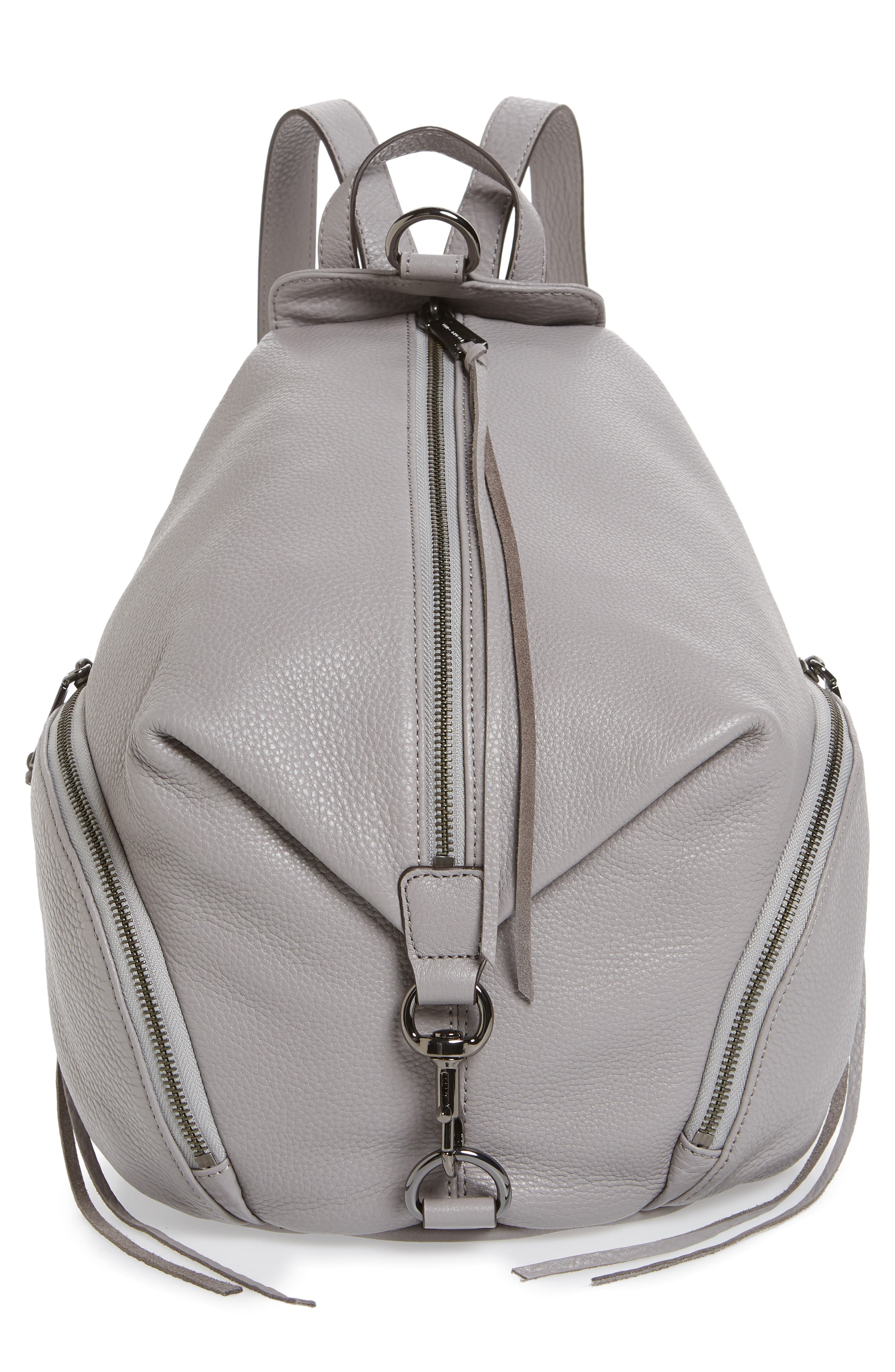 Julian Pebbled Leather Backpack,                         Main,                         color, GREY