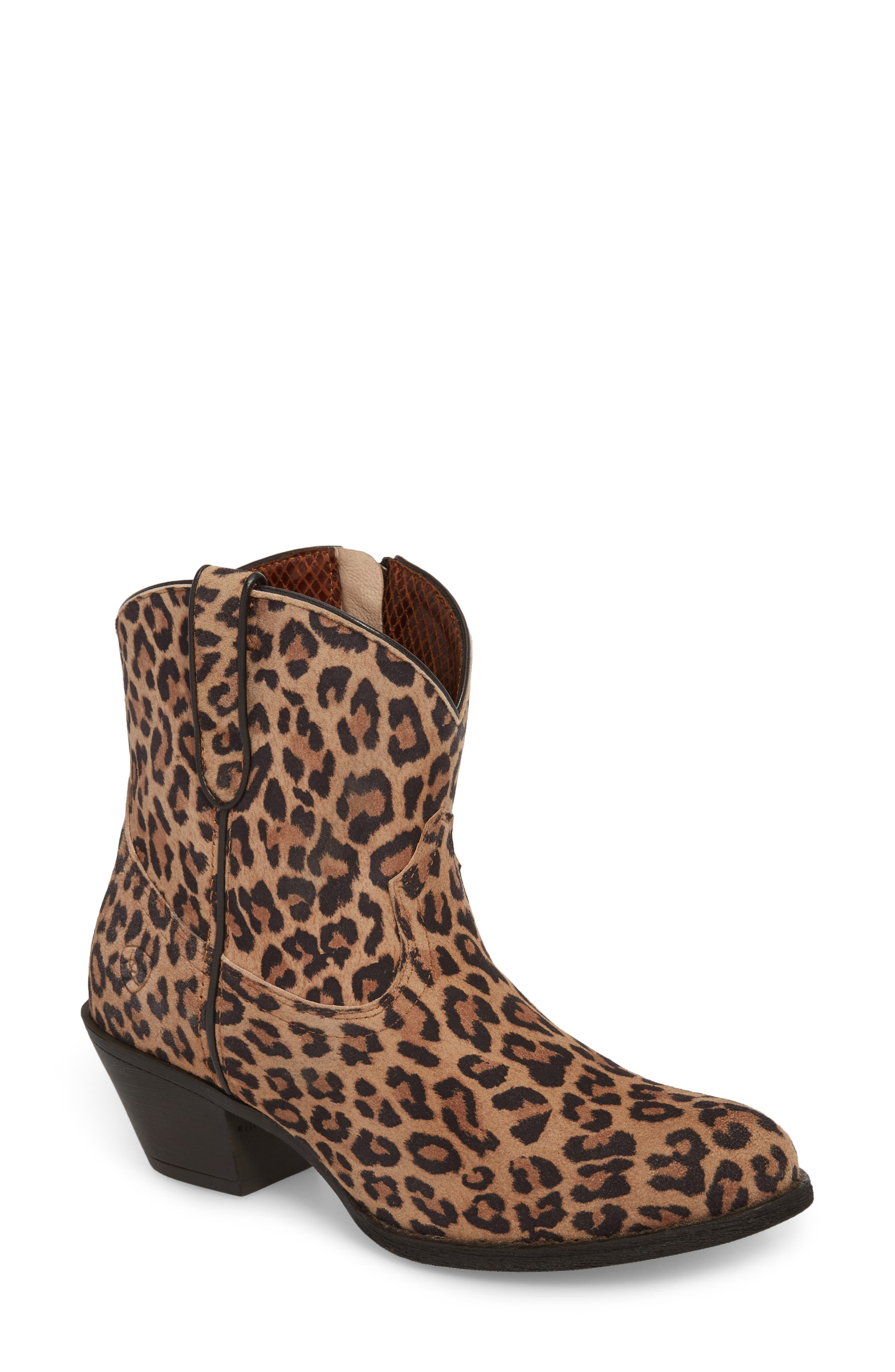 Darlin Short Western Boot,                             Main thumbnail 1, color,                             LEOPARD PRINT LEATHER