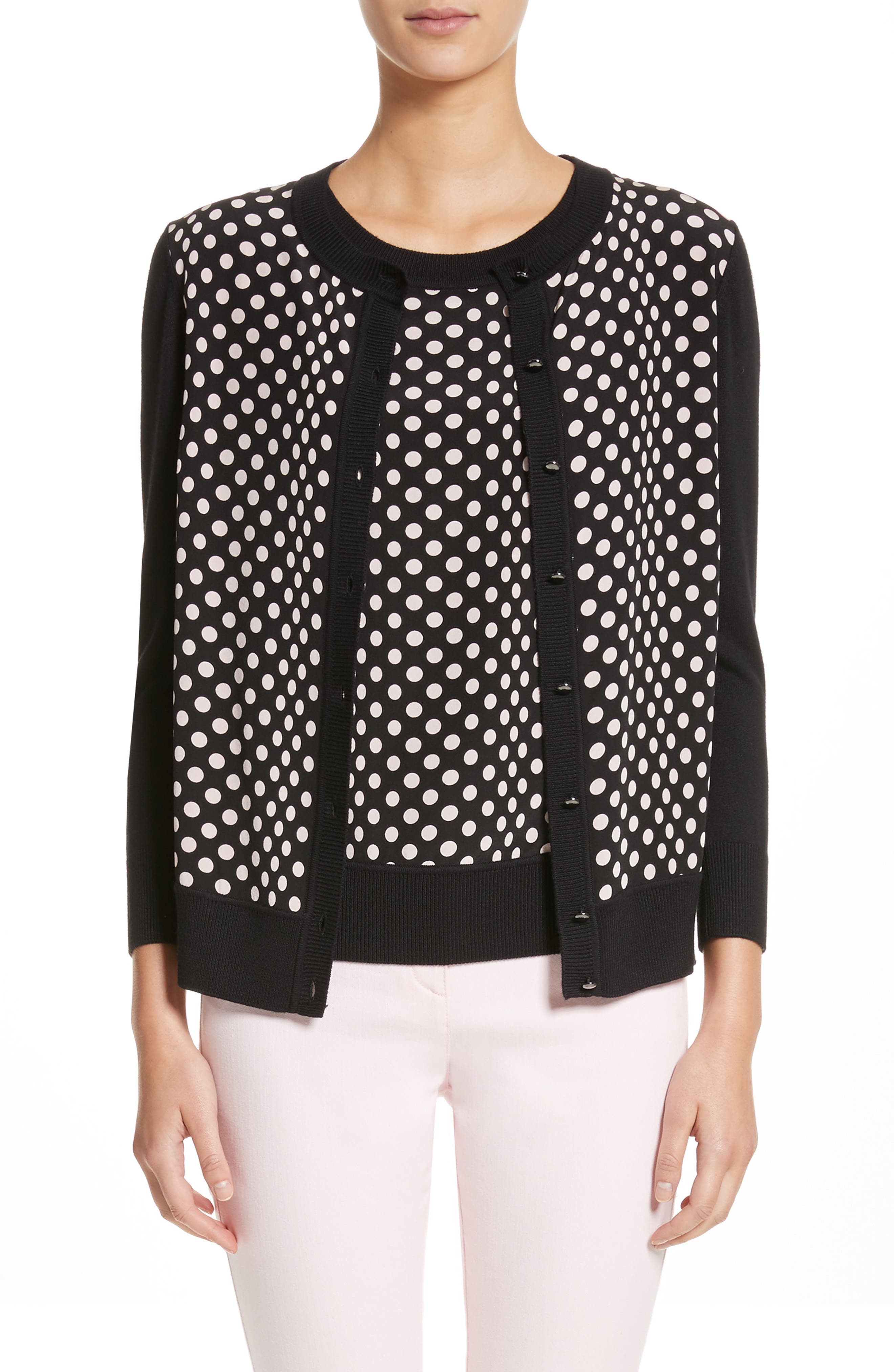 Polka Dot Cardigan,                         Main,                         color, 001