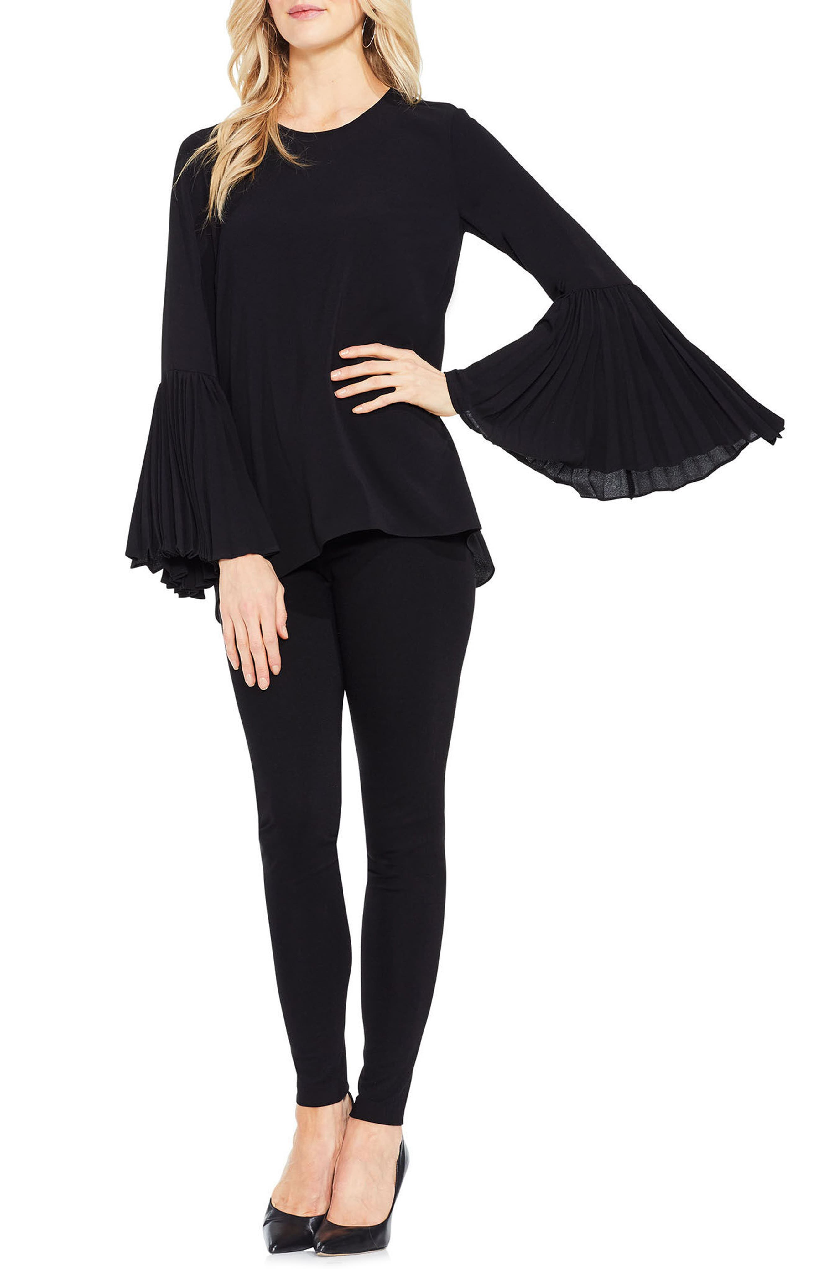 Pleat Bell Sleeve Blouse,                             Main thumbnail 1, color,