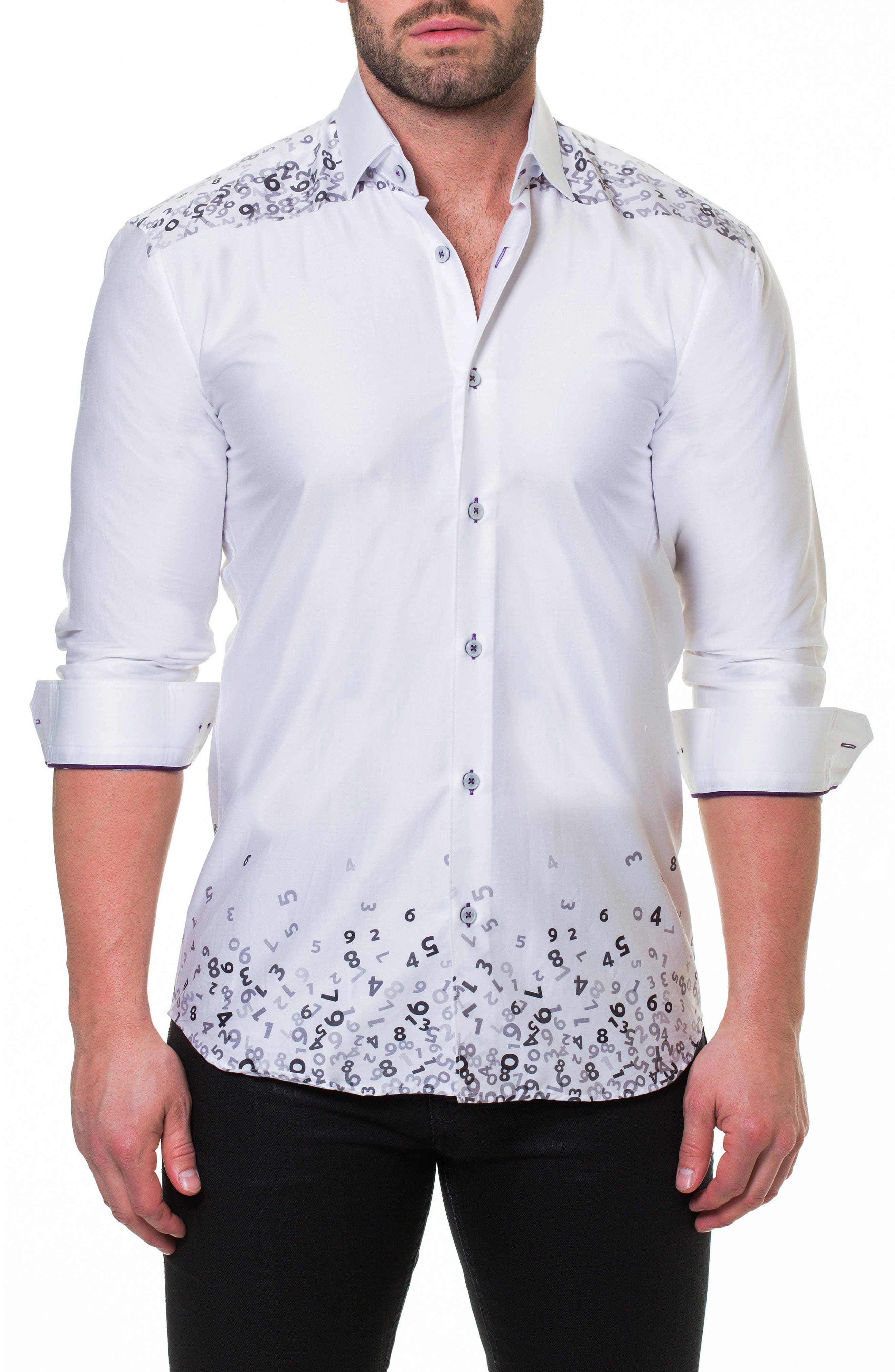 Luxor Counting White Slim Fit Sport Shirt,                             Main thumbnail 1, color,