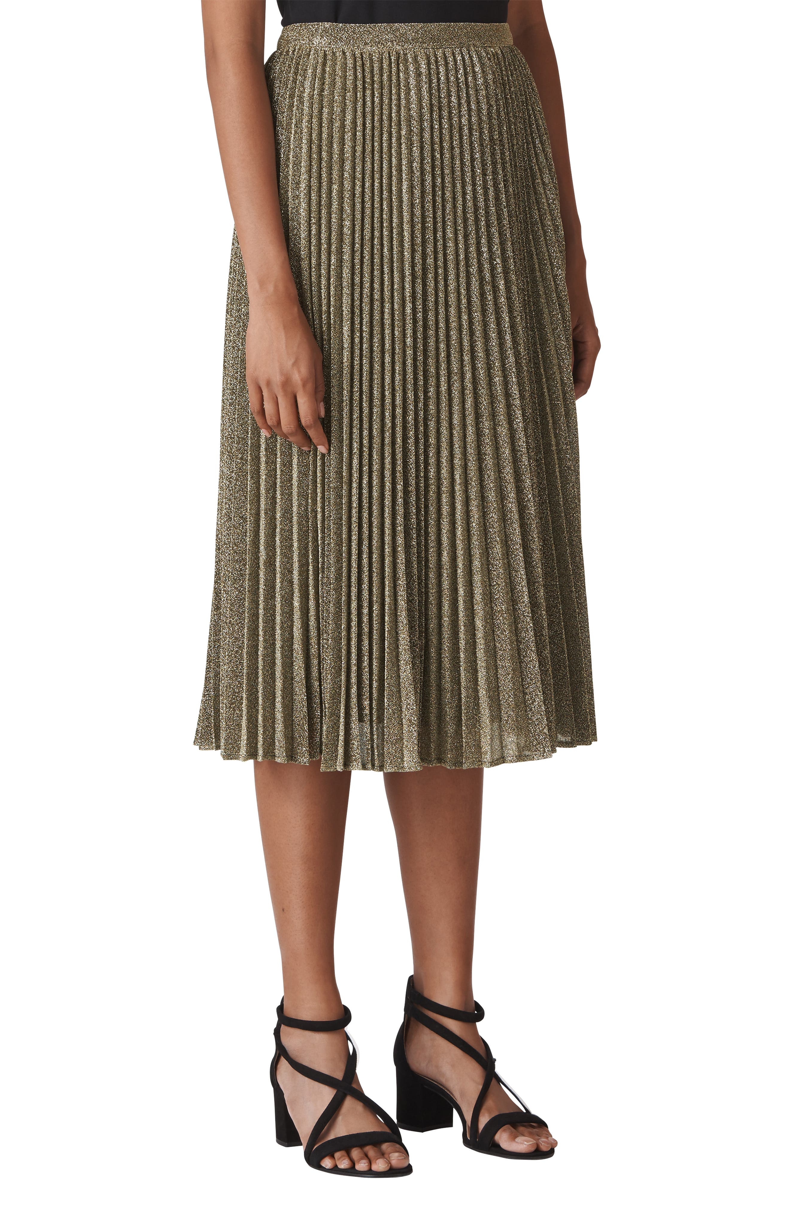 Sparkle Pleated Midi Skirt,                         Main,                         color, GOLD
