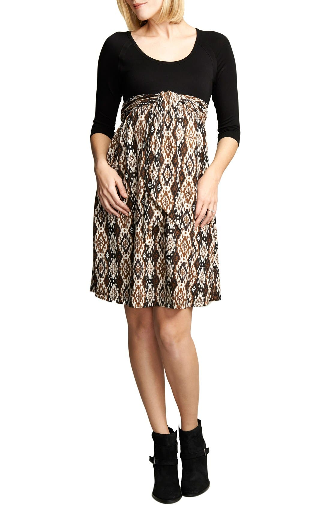 Ikat Print Tie Front Dress,                         Main,                         color, BLACK/IKAT PRINT