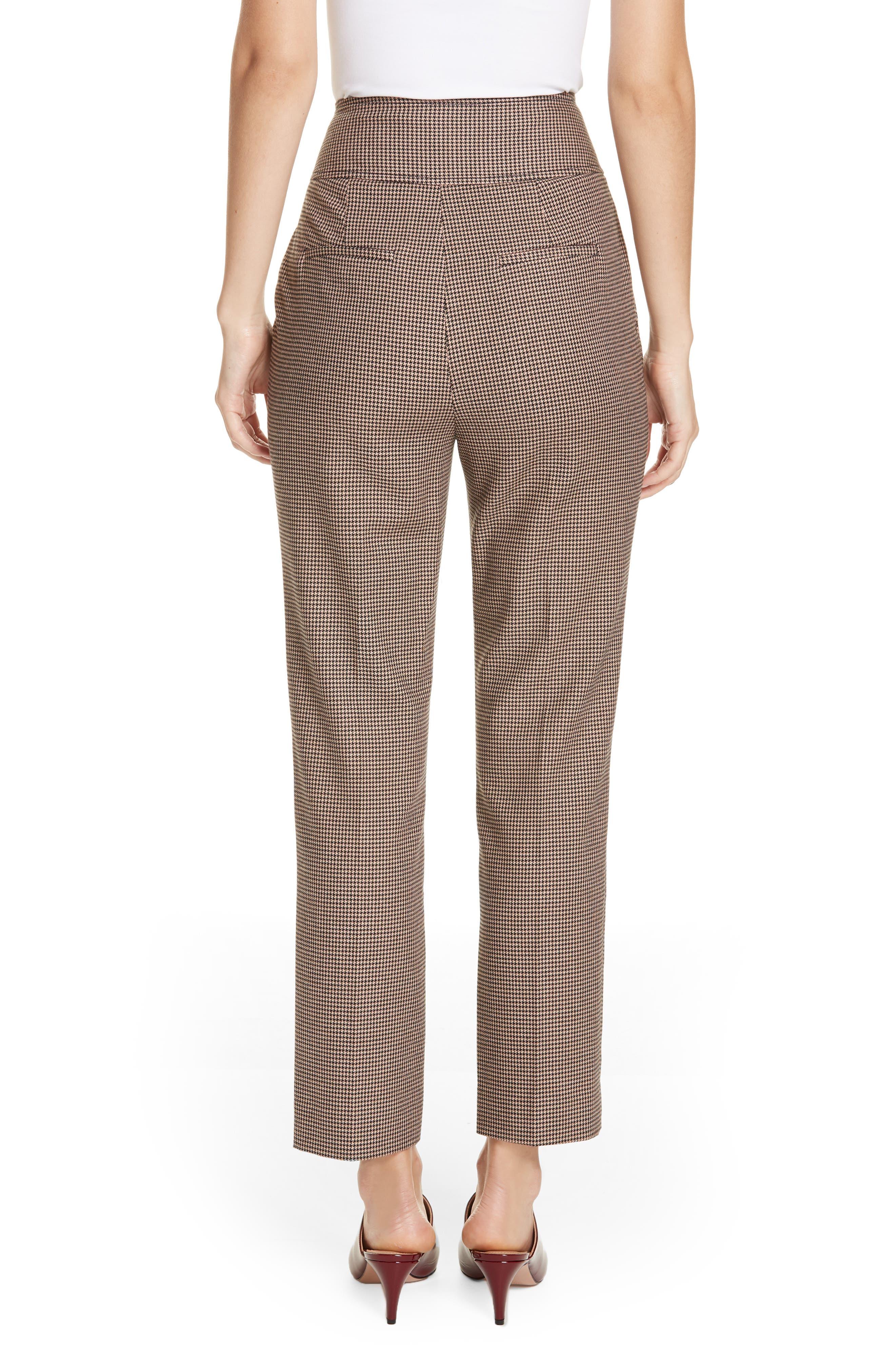 Houndstooth Check Stretch Cotton Blend Pants,                             Alternate thumbnail 2, color,                             CAMEL/ BLACK