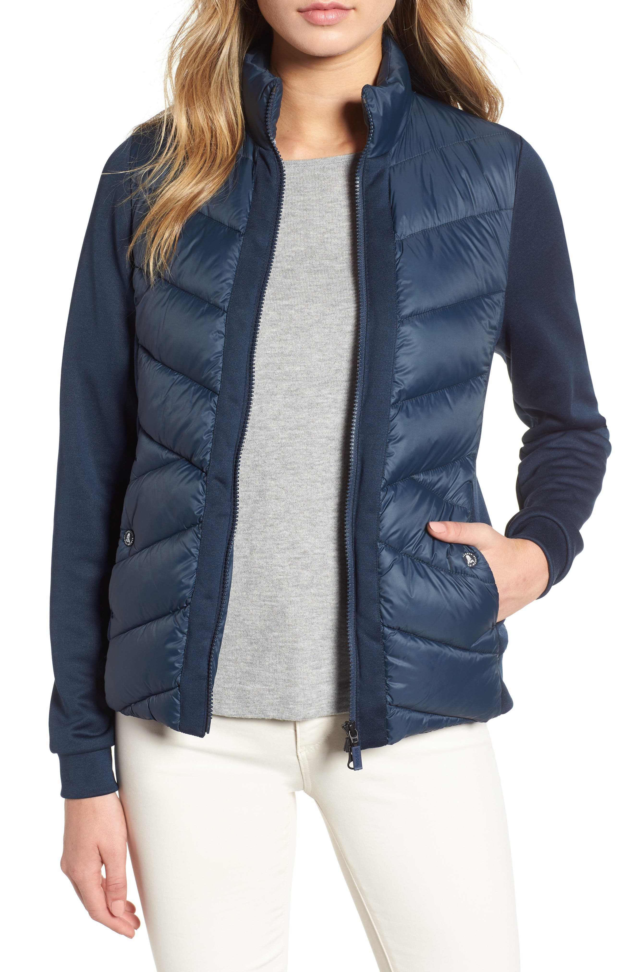 Barbour Hirsel Chevron Quilted Sweater Jacket, US / 8 UK - Blue